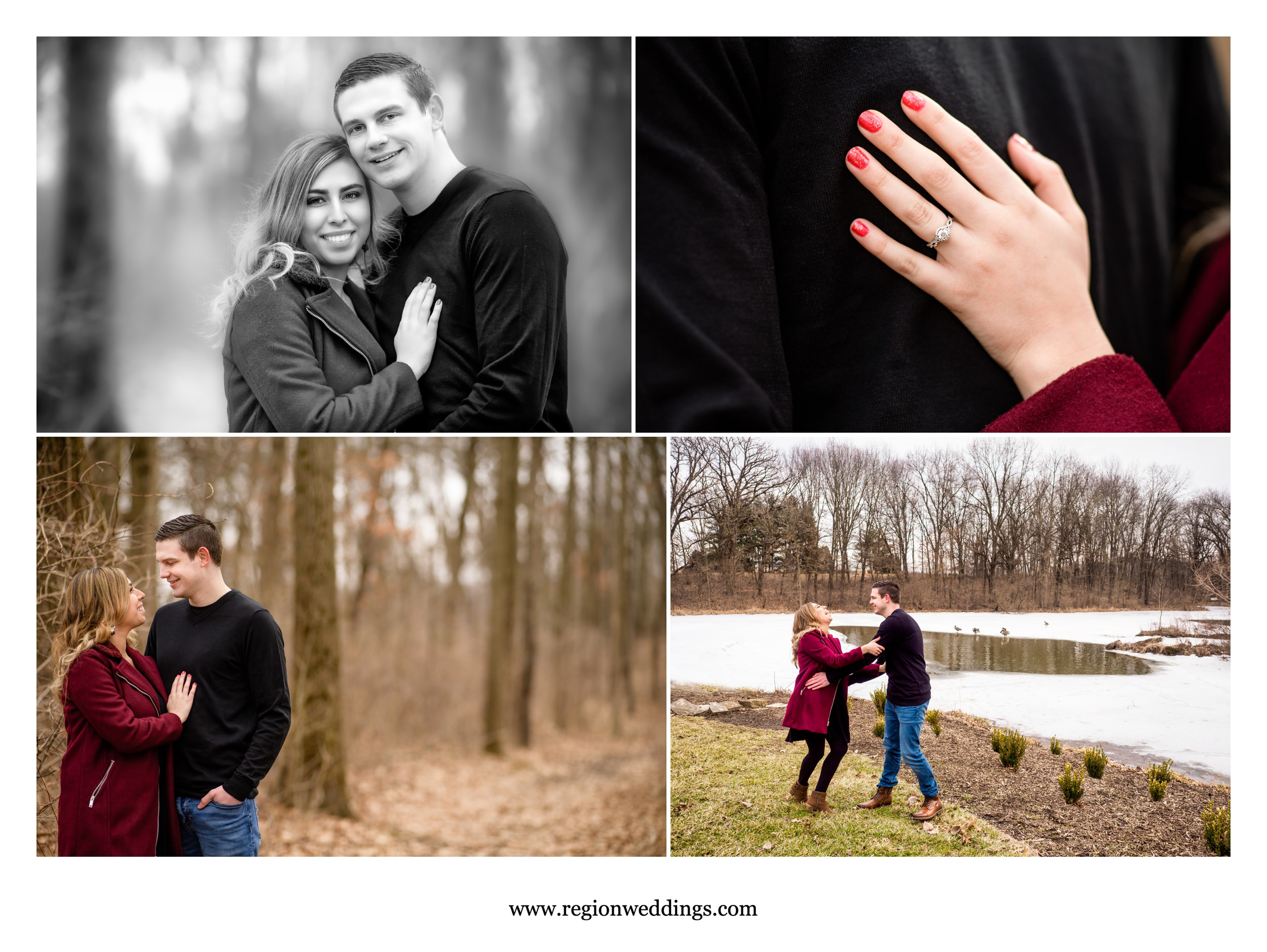 A winter engagement session at Gabis Arboretum.