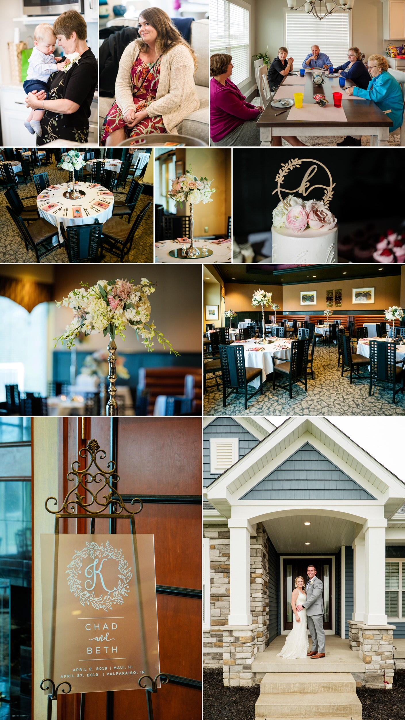 A post wedding party at home and a dinner reception at Sand Creek Country Club.