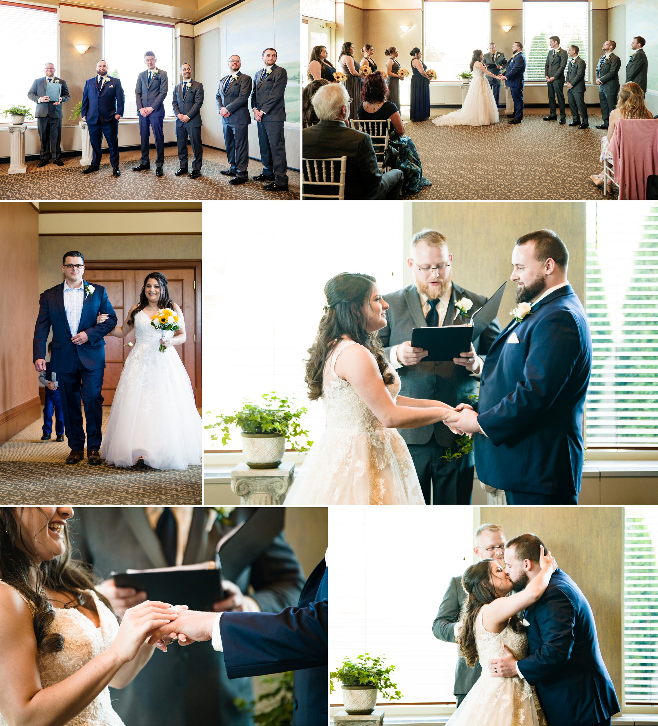 Spring wedding ceremony inside the Lake Room at Sand Creek Country Club.