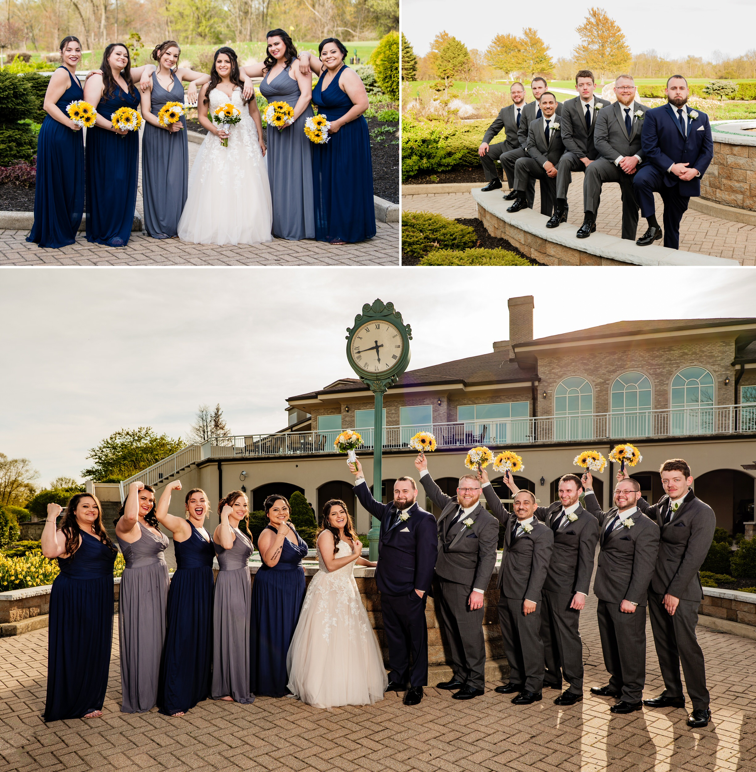 Wedding party group photos in the clock garden at Sand Creek Country Club.