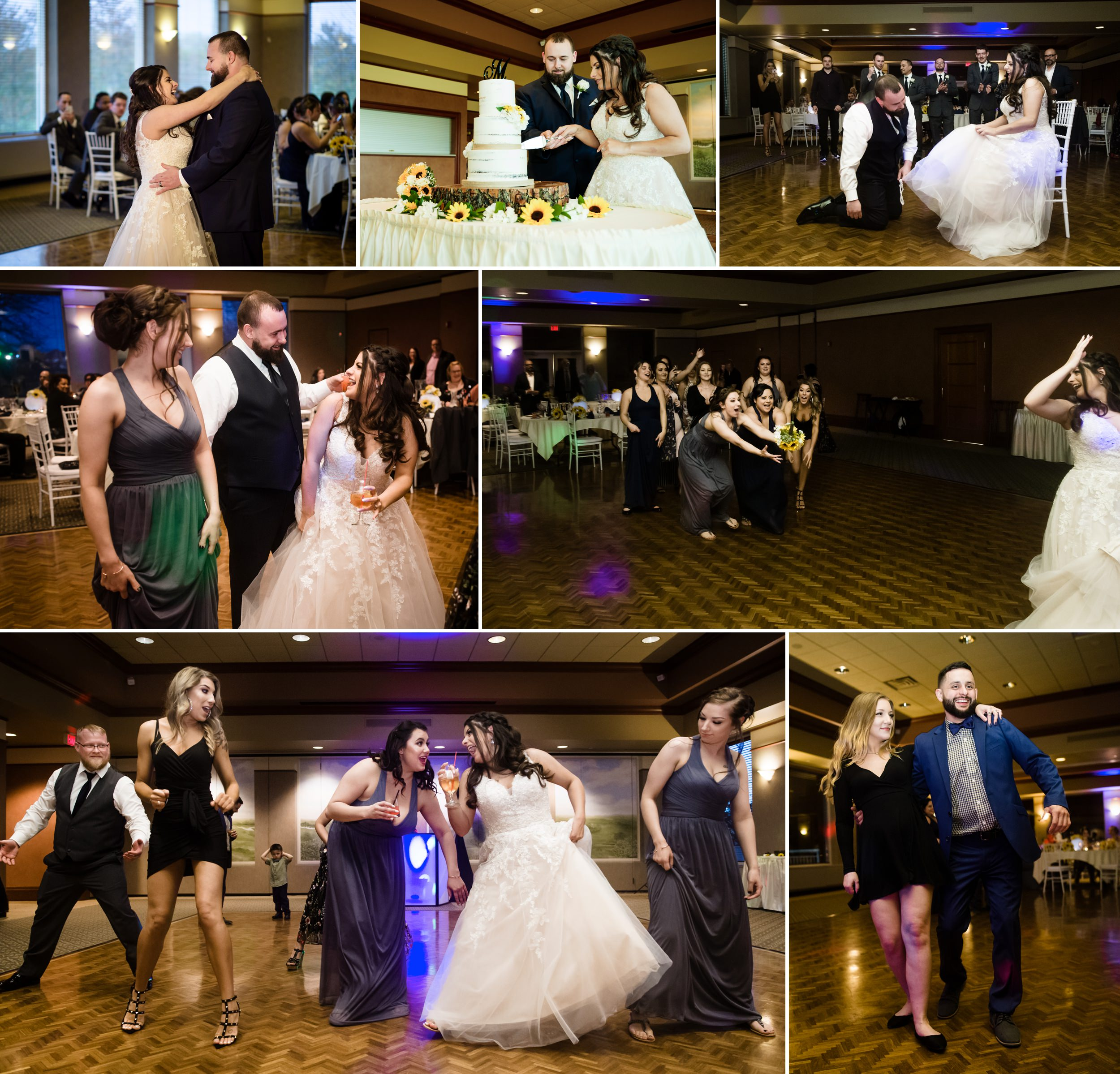 A wedding celebration inside the Sand Creek ballroom.