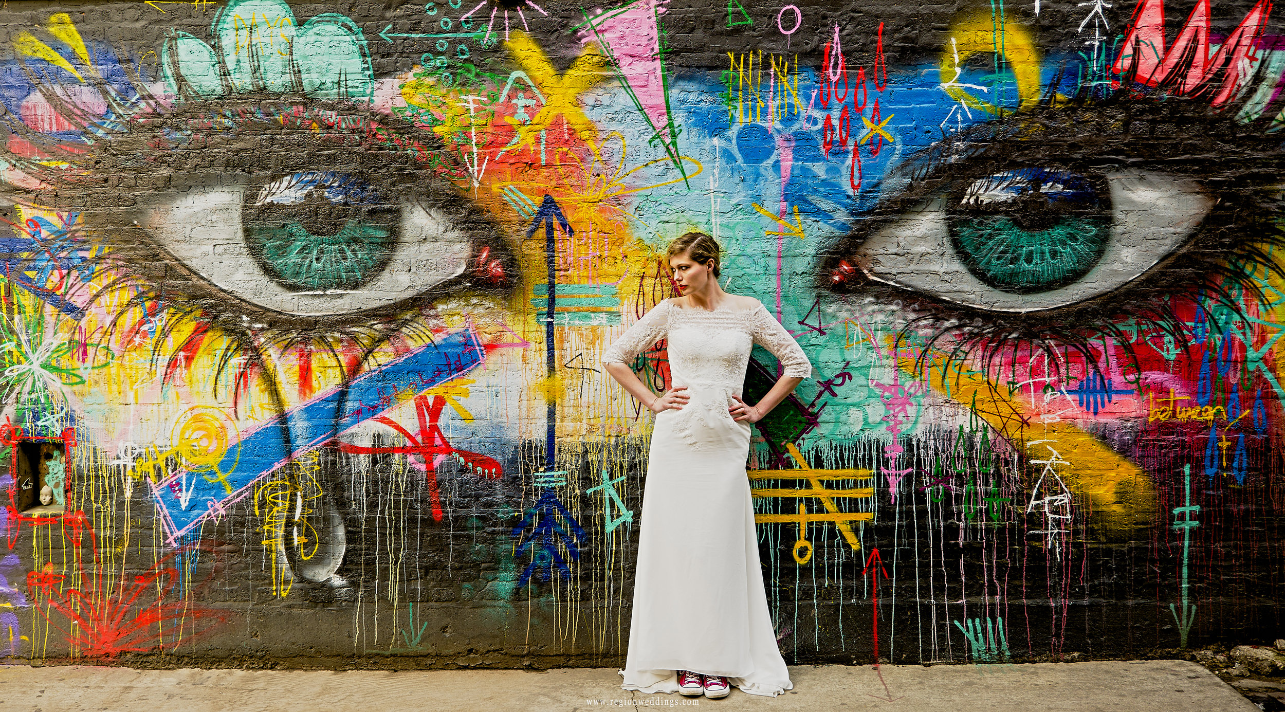 Colorful street art featuring two eyes in Bucktown, Chicago.