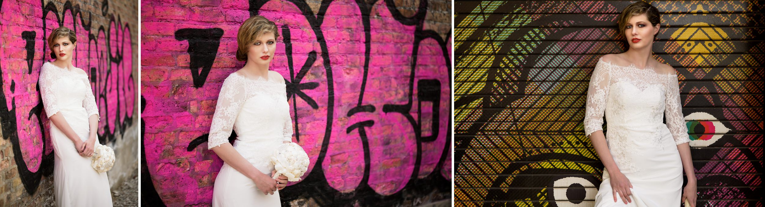 Bridal portraits featuring the colorful graffiti art of the Chicago Bucktown / Wicker park area.