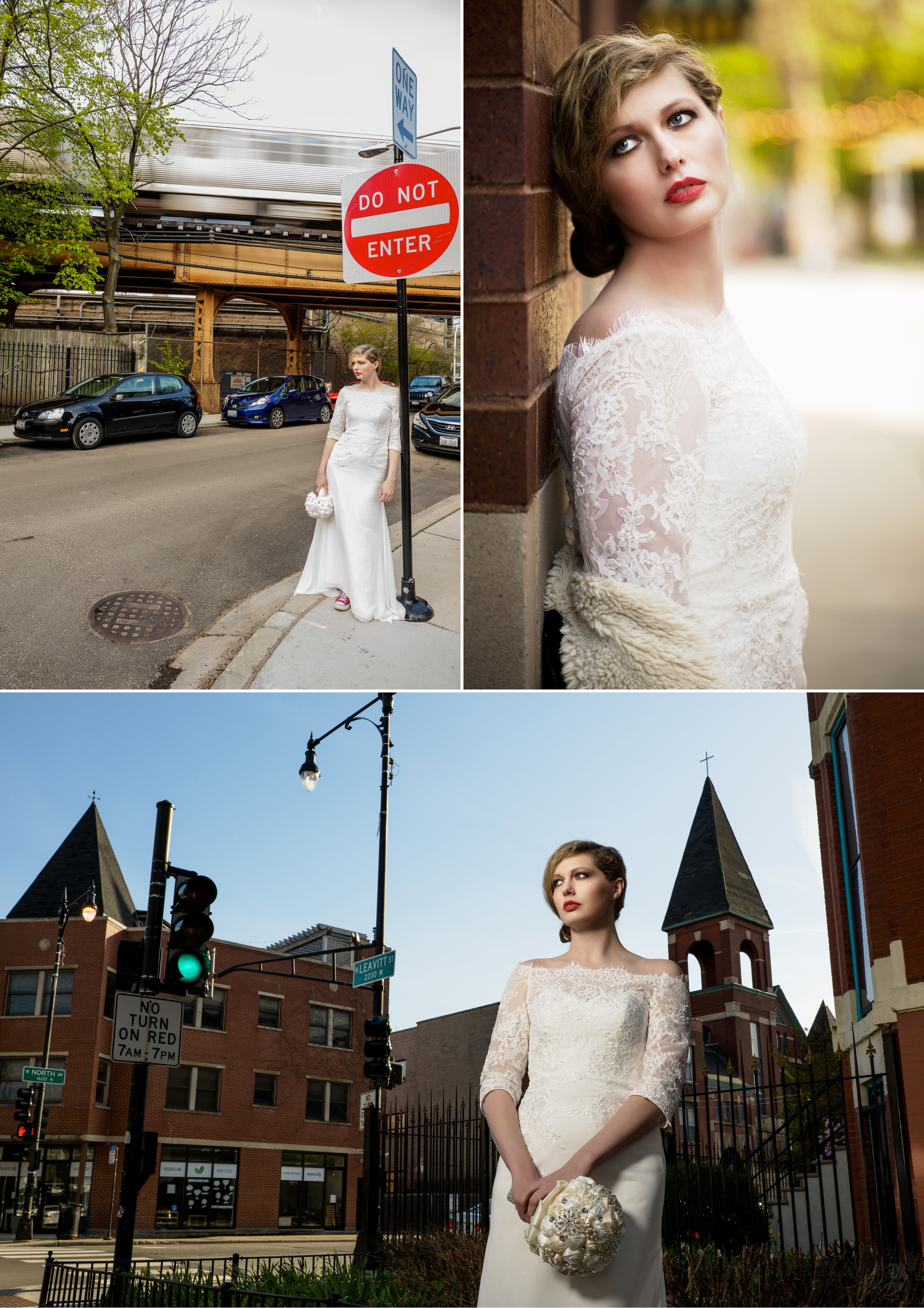 Urban bridal portraits on the streets of Chicago.