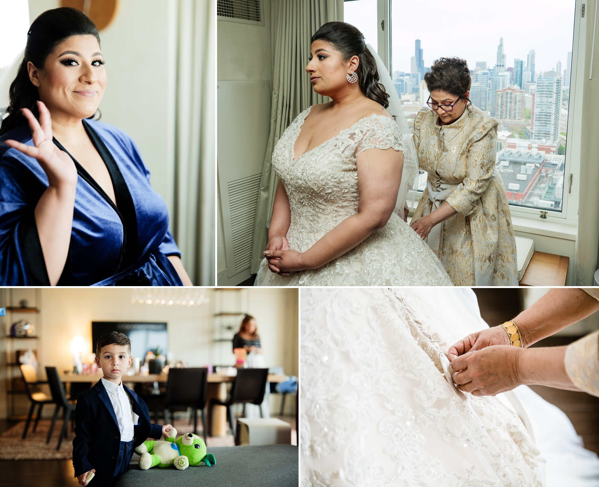 The bride and friends get ready for her big day at Hyatt Regency McCormick Place hotel.