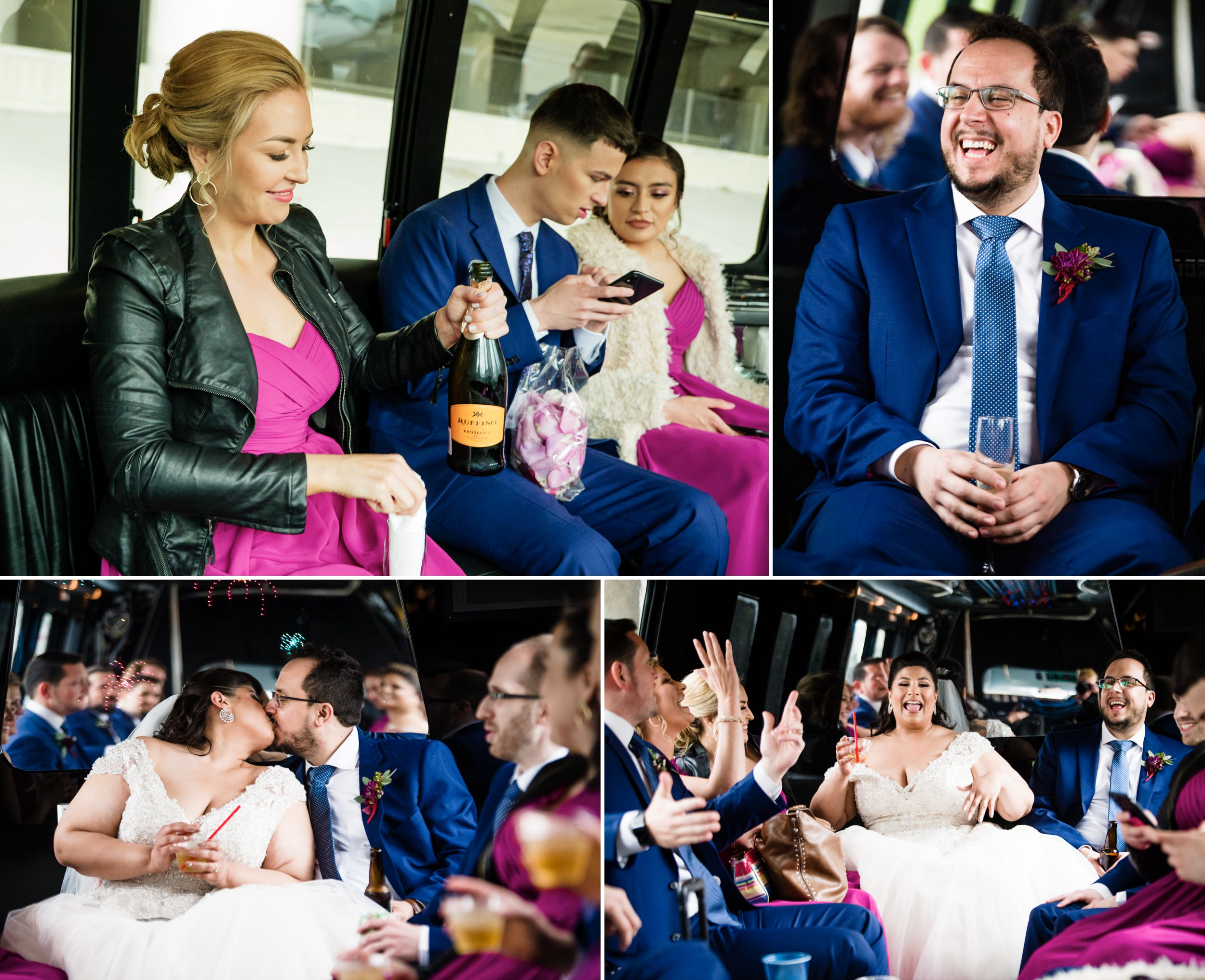 The wedding party celebrates on the party bus.