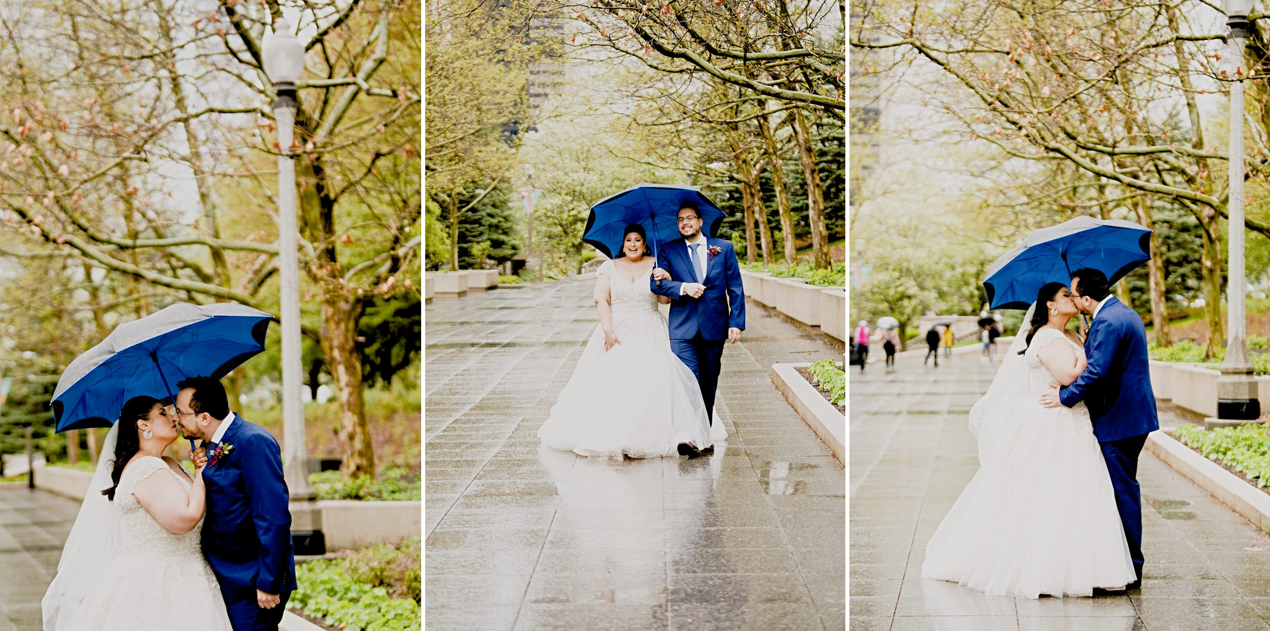 Rainy day wedding photos at Millennium Park in Chicago.