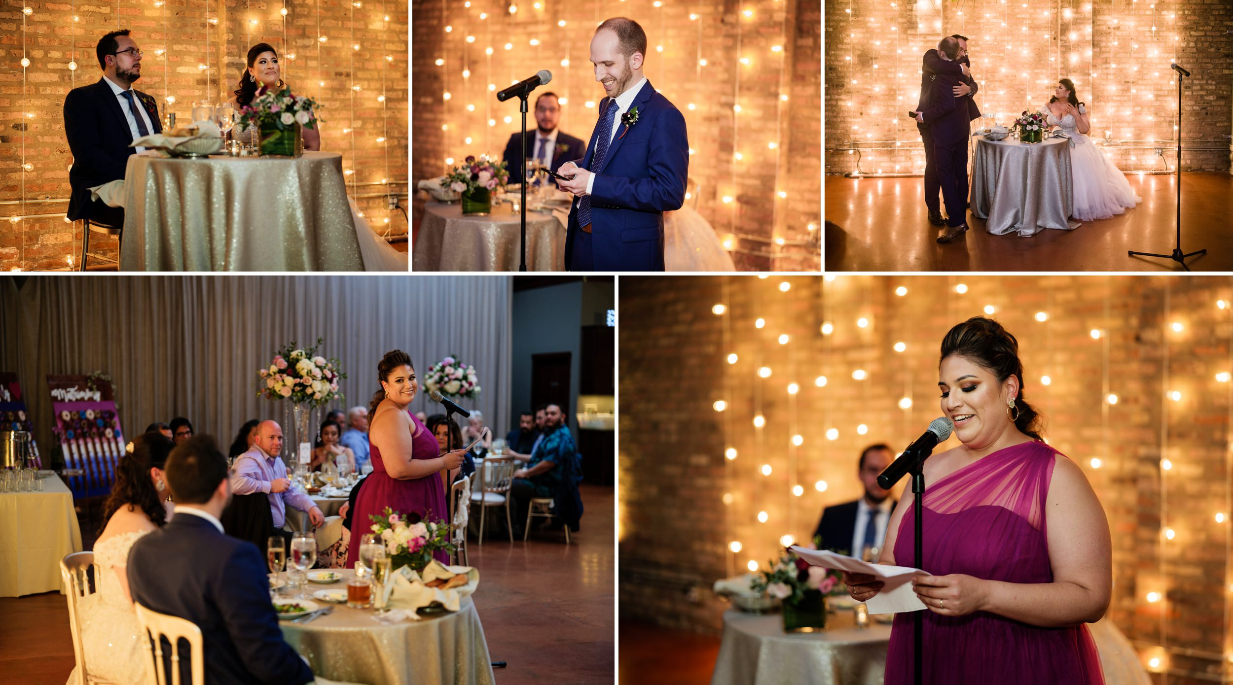 Wonderful speeches from the maid of honor and best man at Loft On Lake Chicago wedding venue.