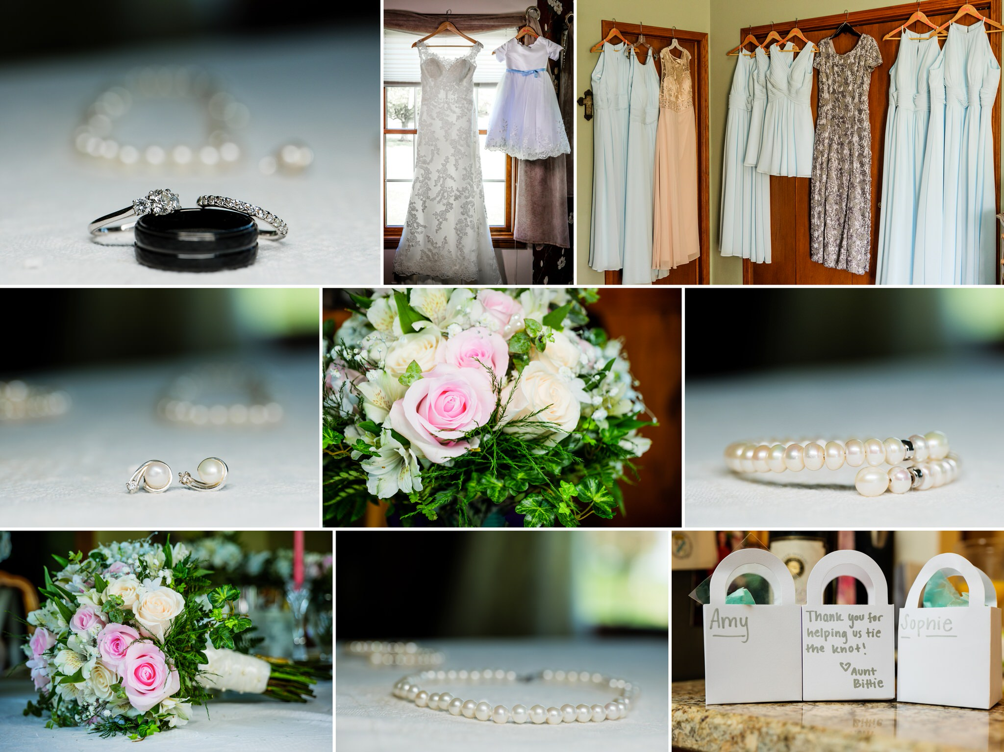 Bridal details at a Spring wedding in Crown Point, Indiana.