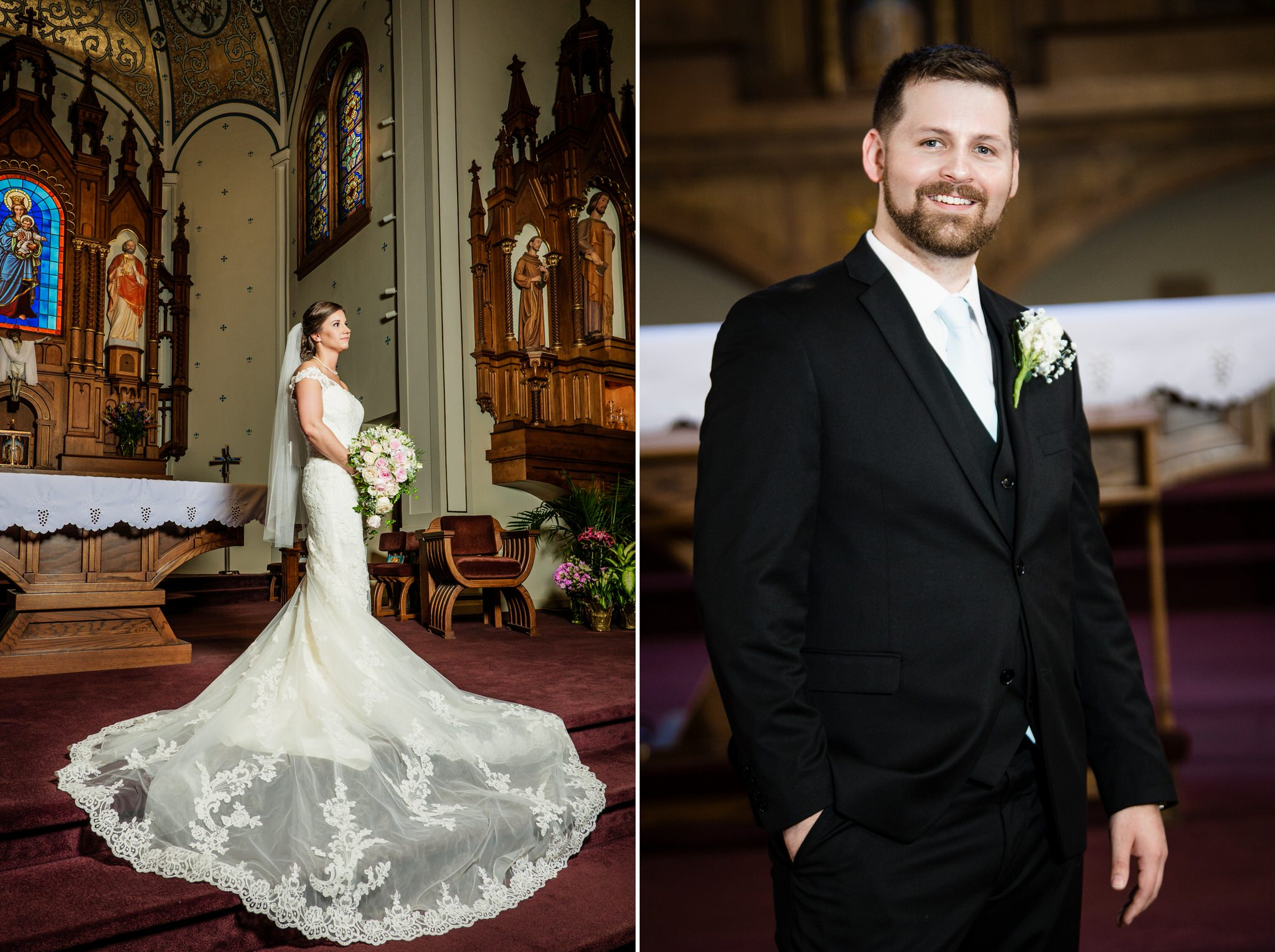 Bride and groom solo portraits at the altar of Saint Mary Catholic Church in Crown Point, Indiana.