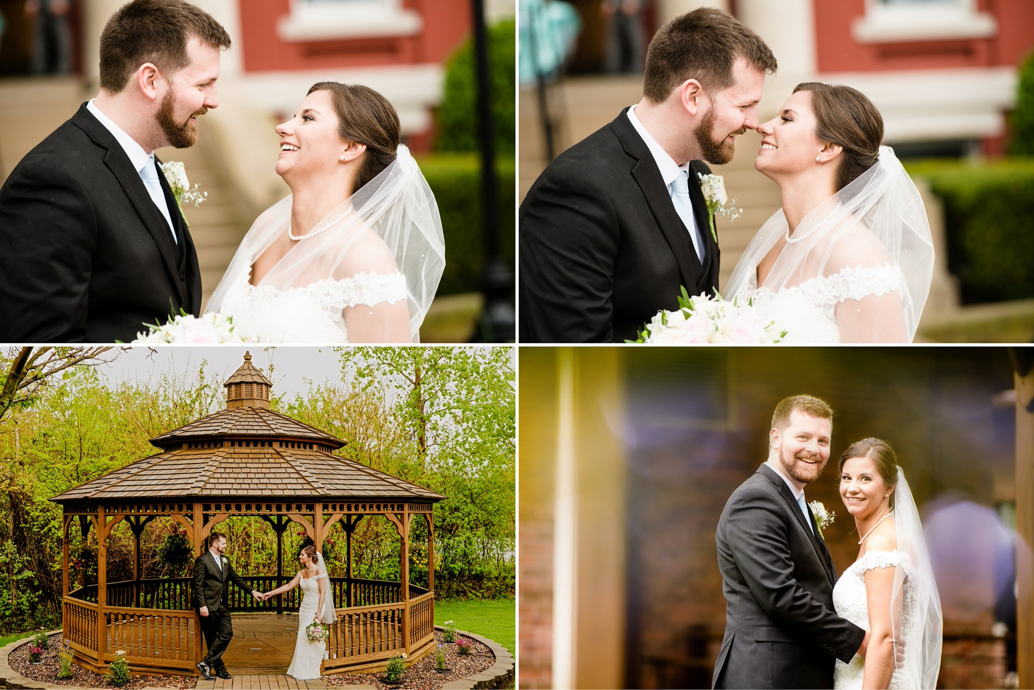 Some candid moments for the bride and groom in between raindrops.