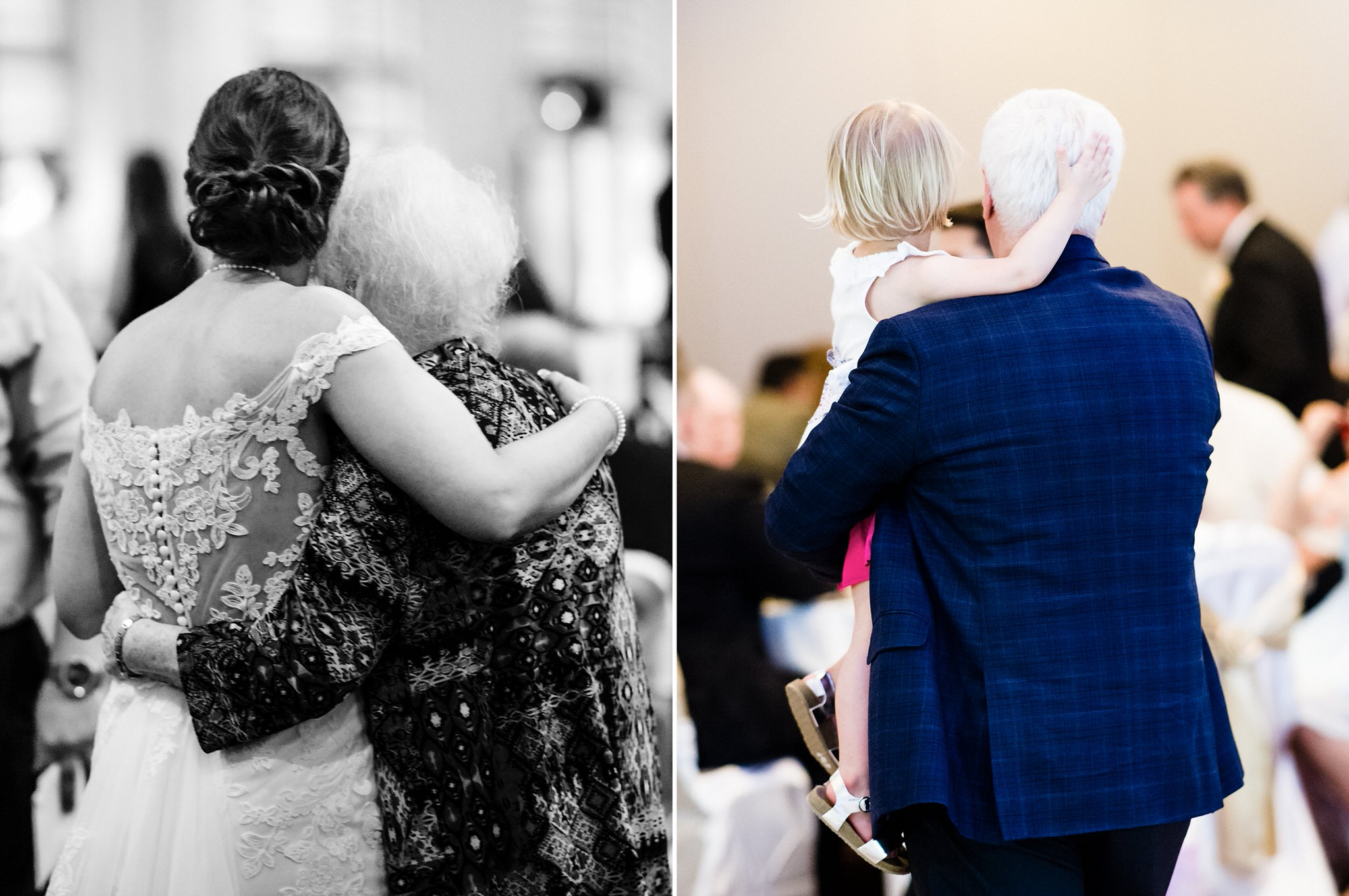Two generational hugs within moments of one another.