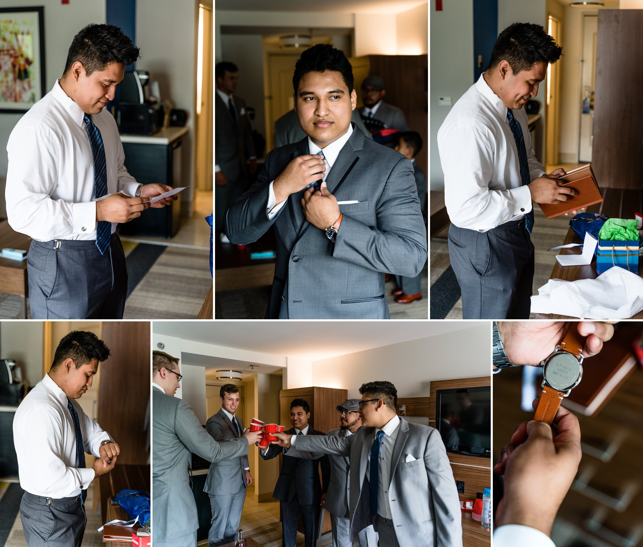 The groom prep before the first look with his bride.