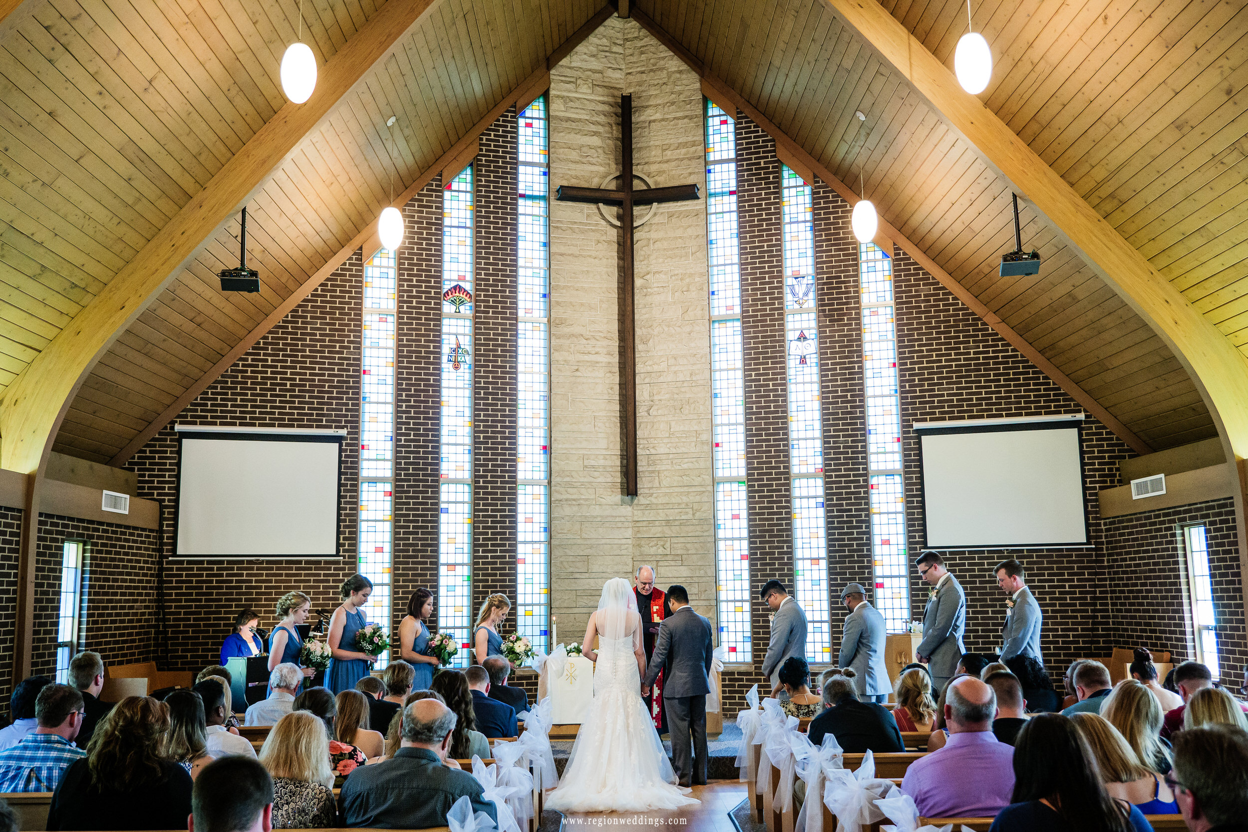 Wedding ceremony at First Presbyterian Church in Schererville, Indiana.