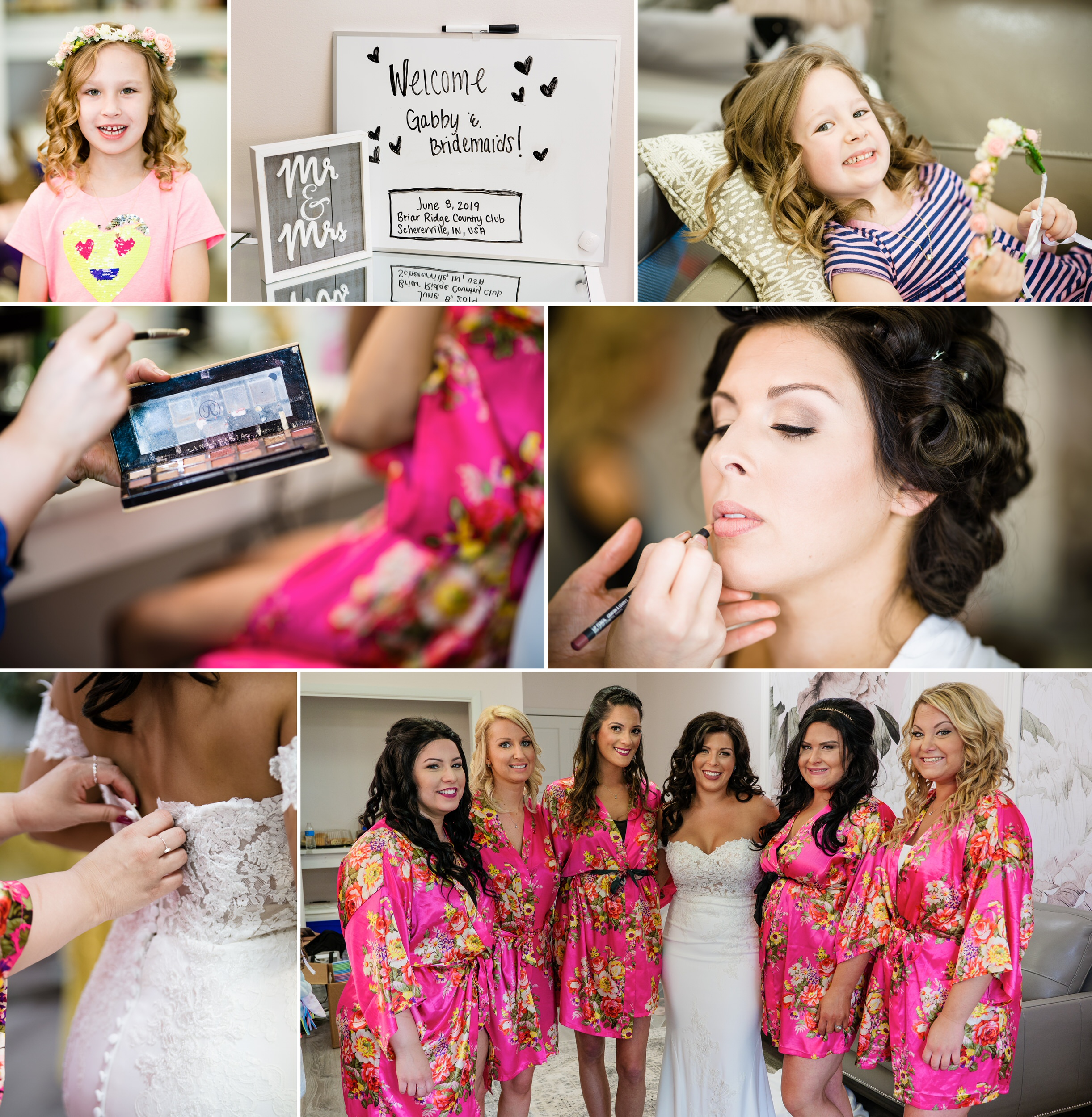 The bride and bridesmaids get ready inside the new bridal suite at Briar Ridge Country Club.