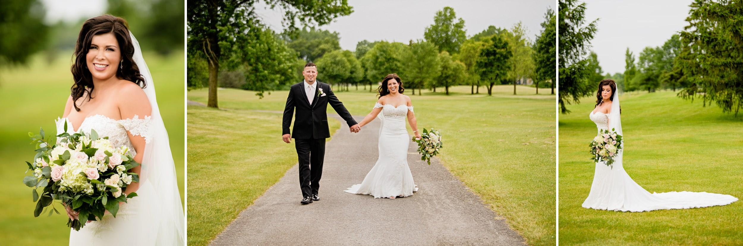 Wedding photos on the golf course of Briar Ridge.