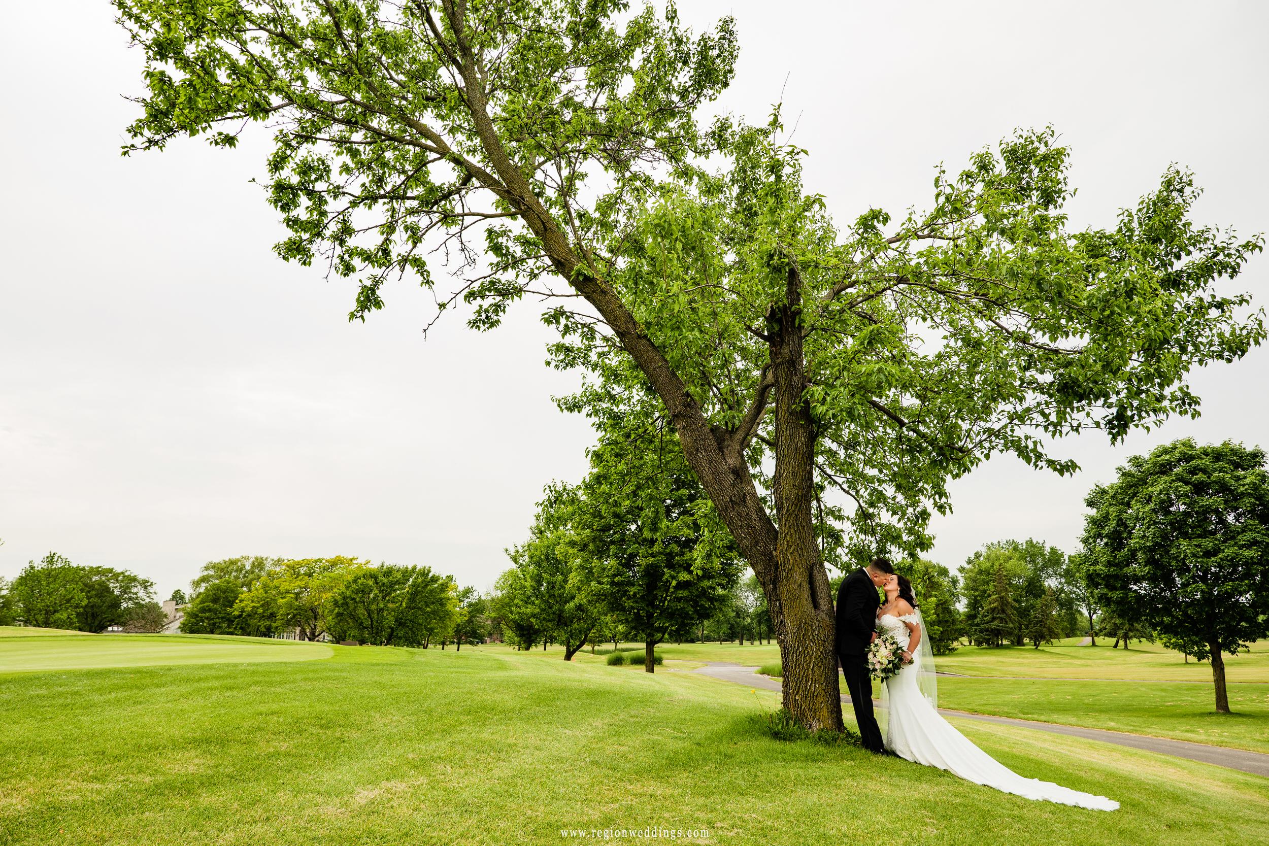 Sharing a kiss beneath the big tree.