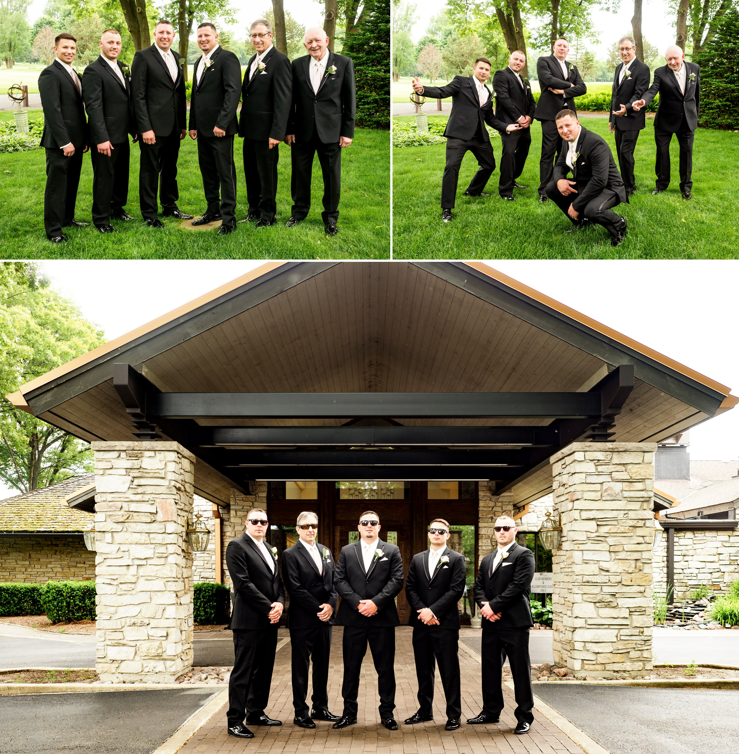 Groom and his groomsmen at Briar Ridge Country Club.