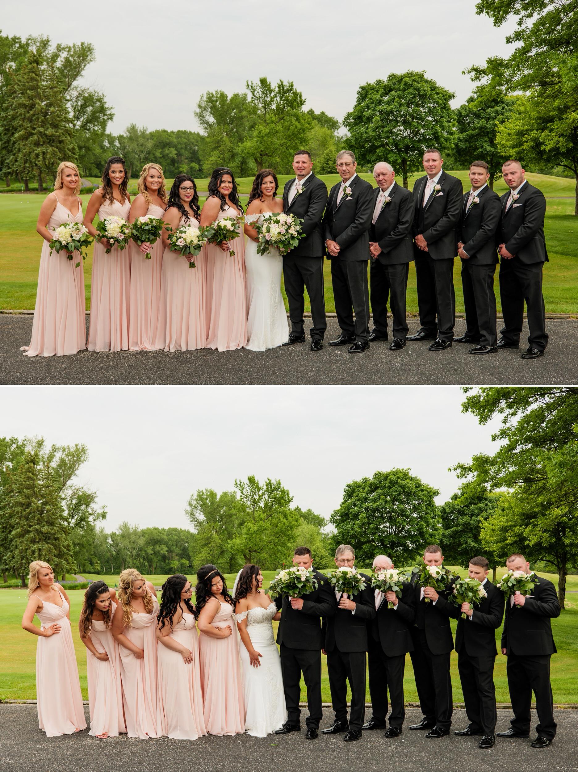 Wedding party group photos.