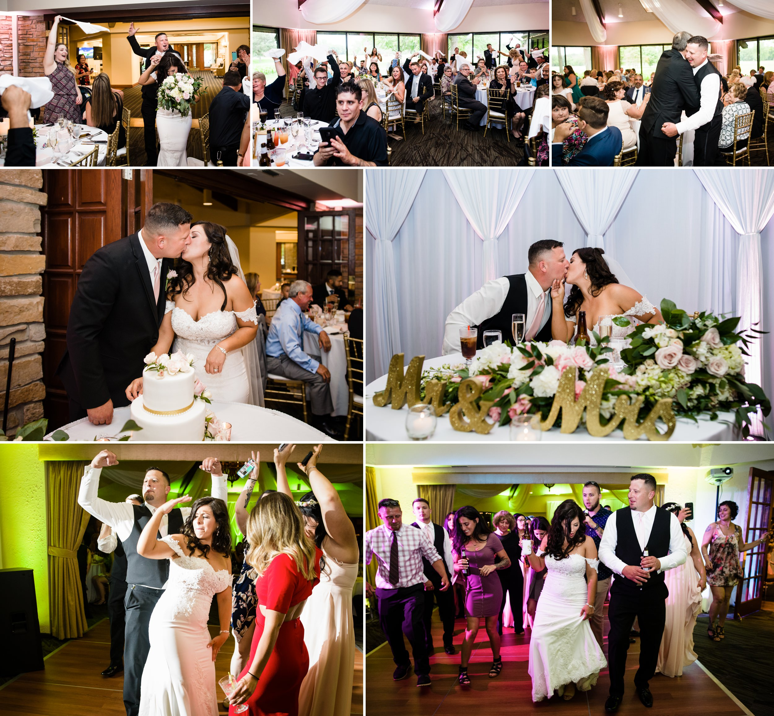 A rousing introduction for the bride and groom at their Briar Ridge wedding reception.