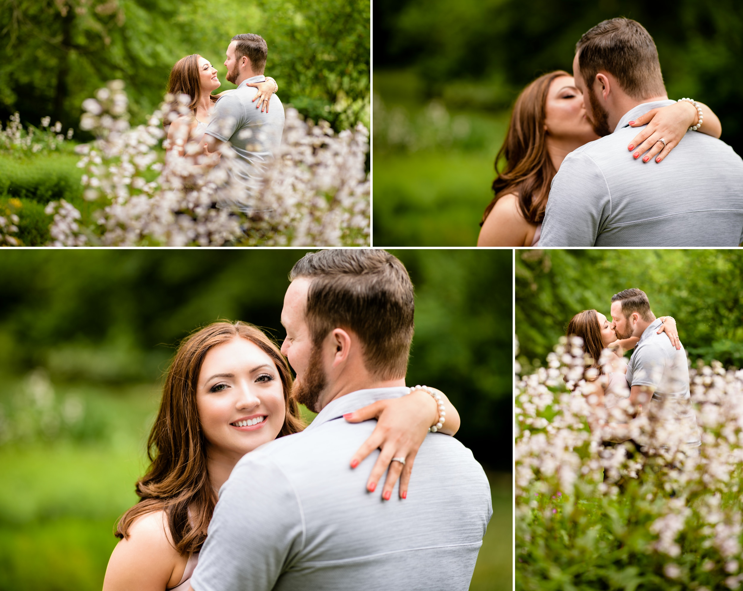 Engagement pictures among the beds of flowers at Gabis Arboretum.