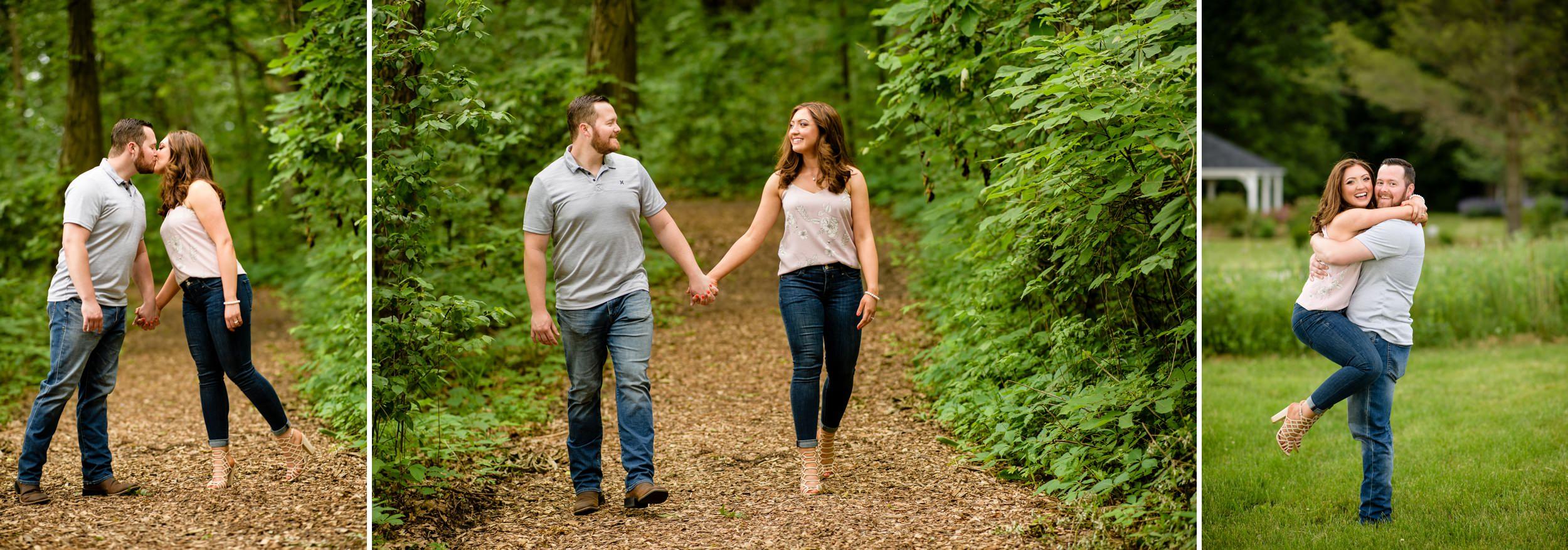 Romantic and fun engagement pictures at Gabis Arboretum.