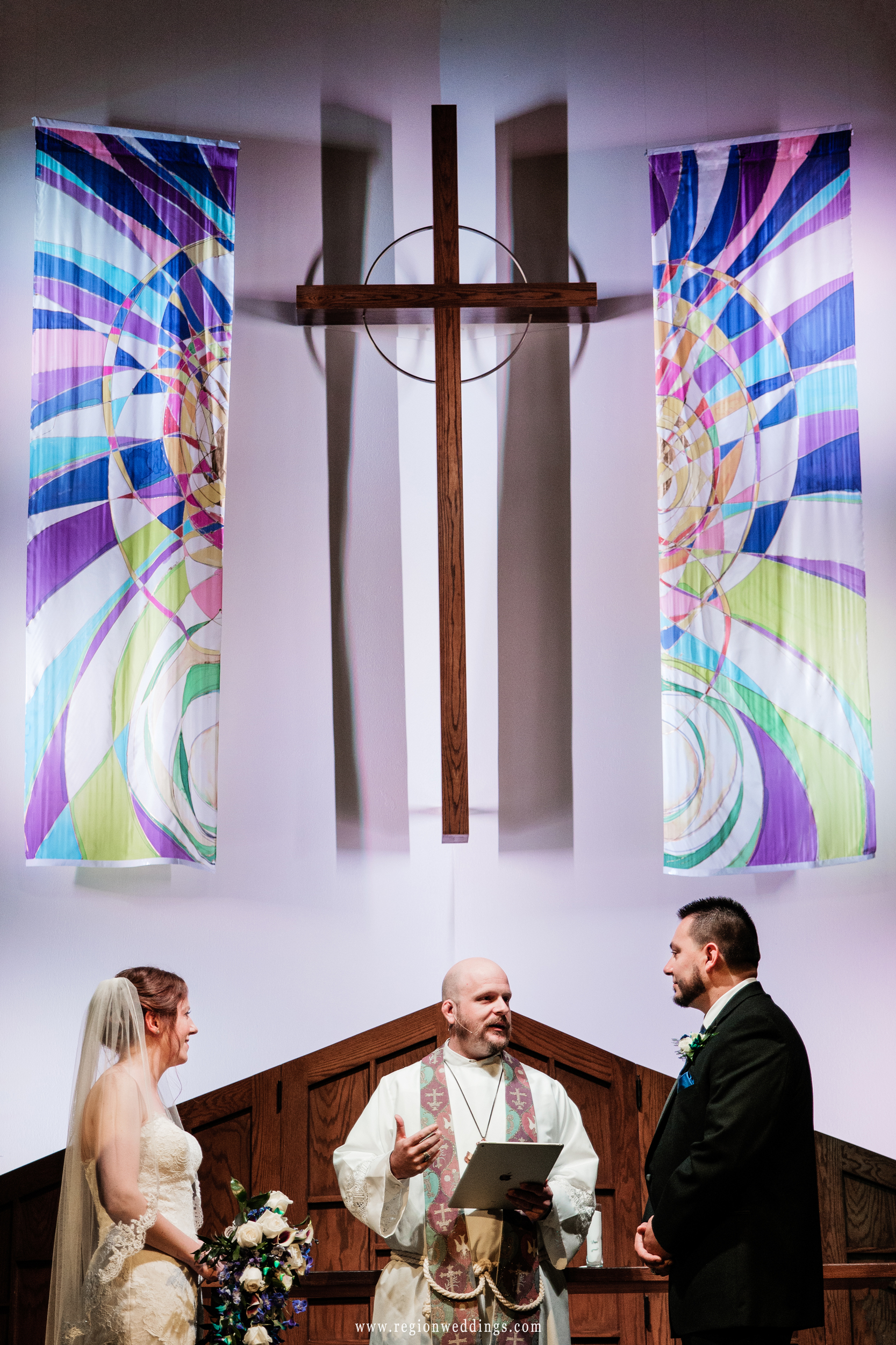 Exchanging vows at Westminster Presbyterian Church.
