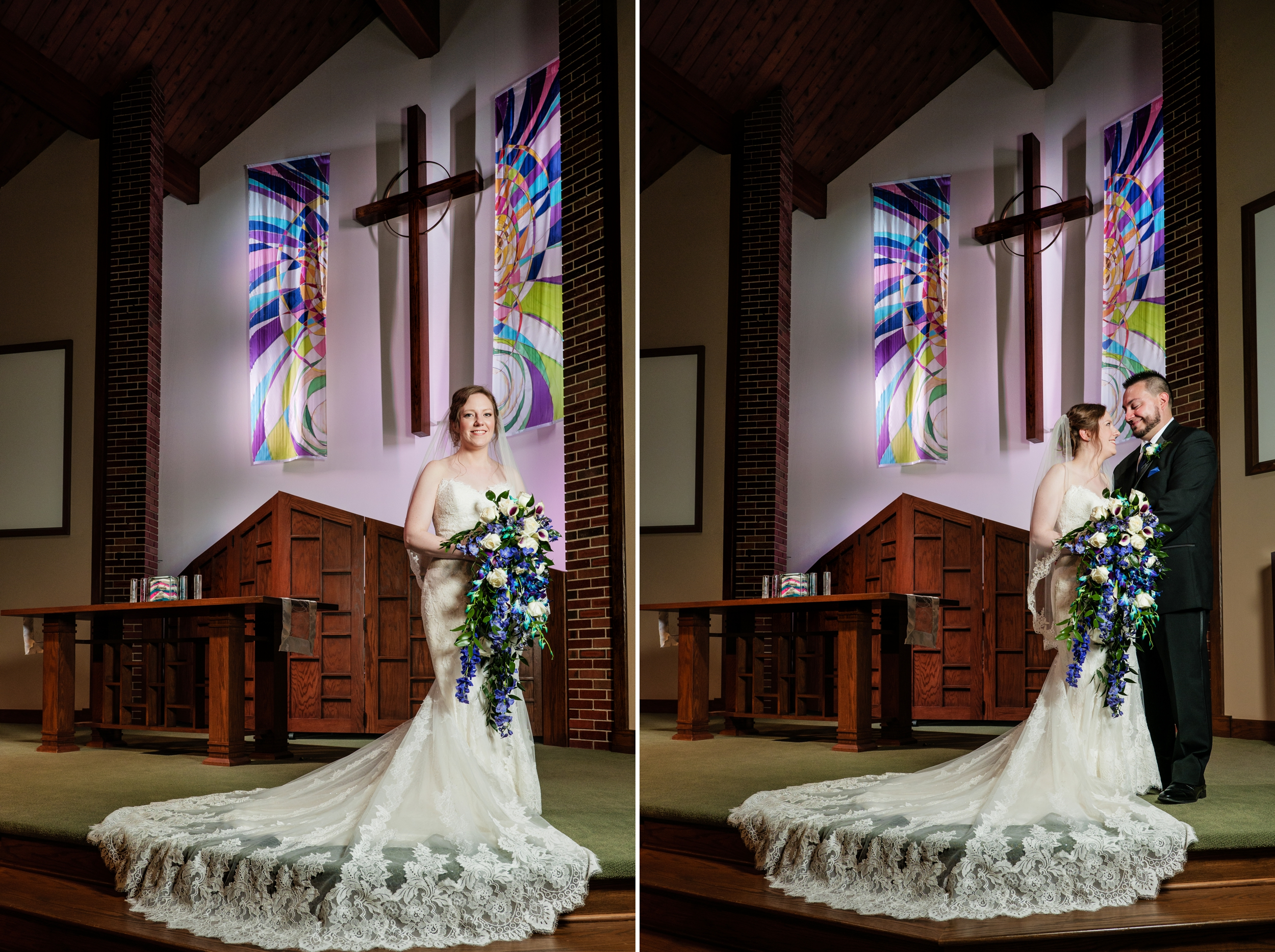 Bride and groom on the altar at Westminster Church in Munster, Indiana.