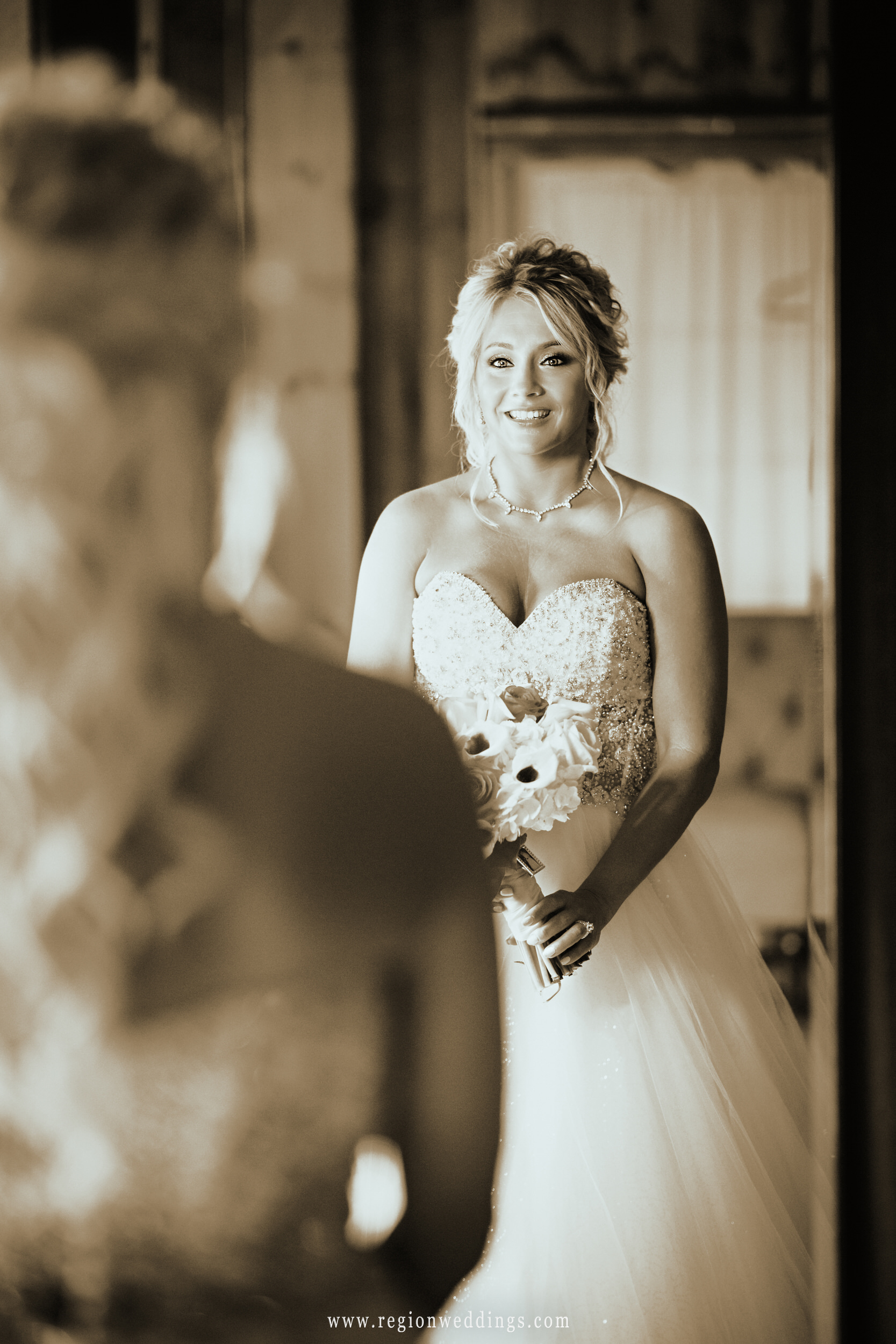 Bridal mirror shot.