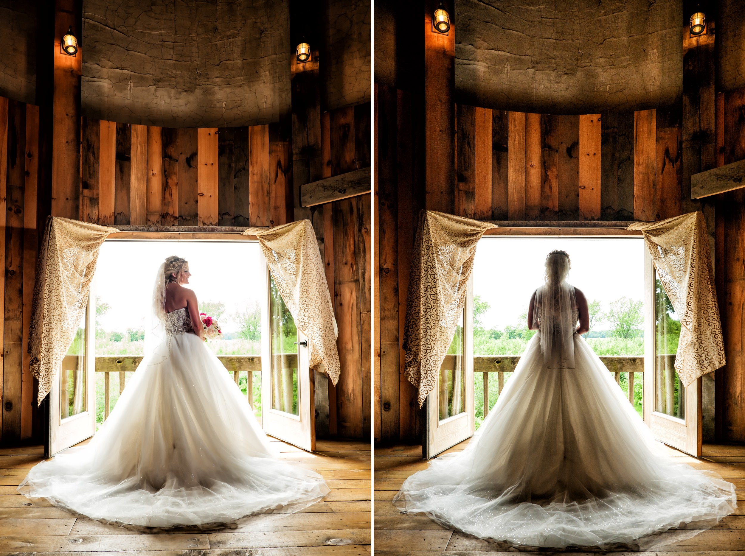 View of the back of the bride's dress at County Line Orchard bridal suite.
