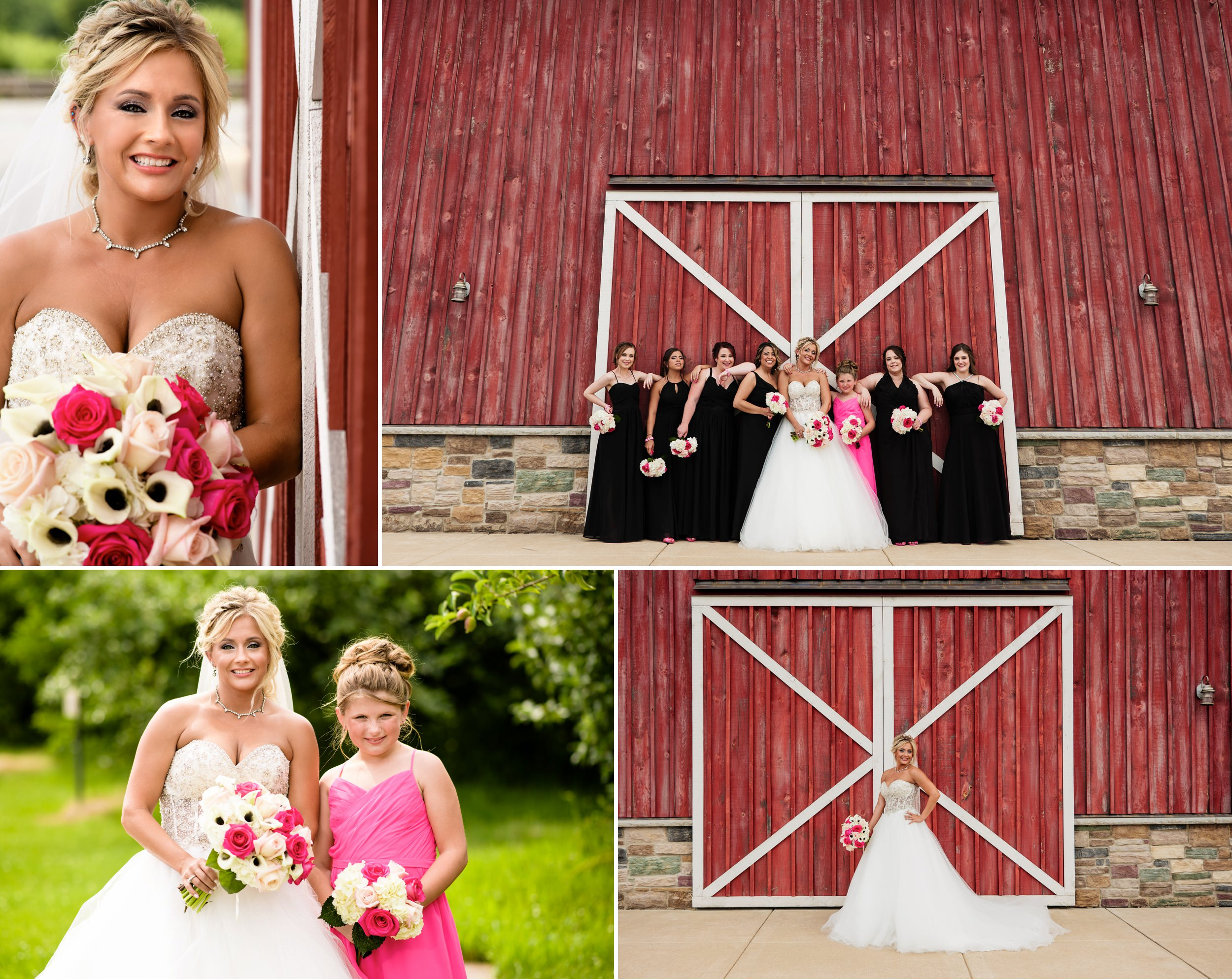 Bride and her bridesmaids by the big barn.