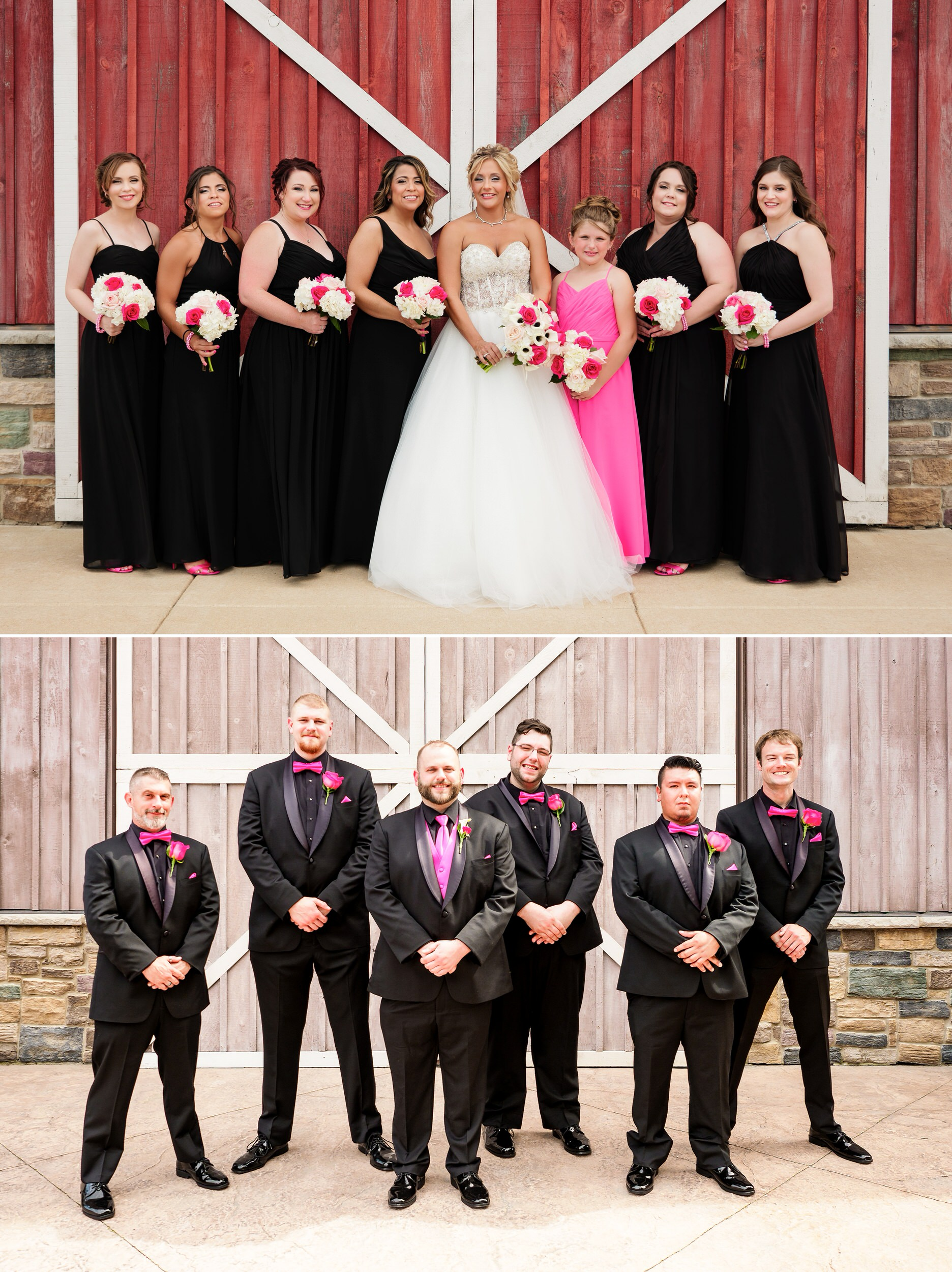 Bridesmaids and groomsmen in front of the CLO barn doors.