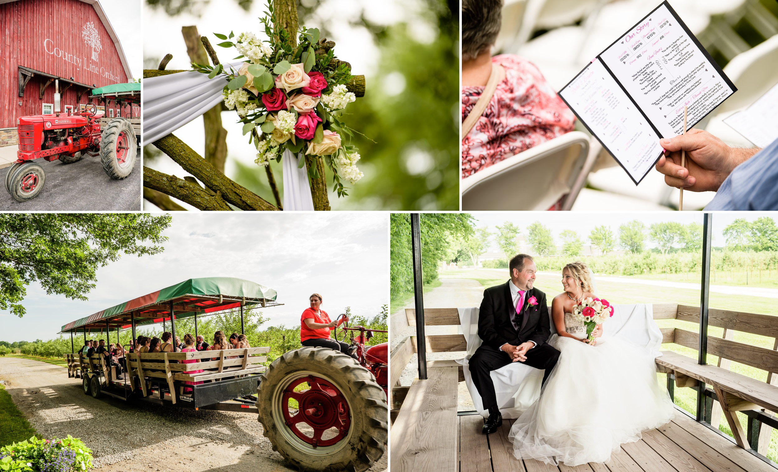 Rustic outdoor wedding at County Line Orchard.