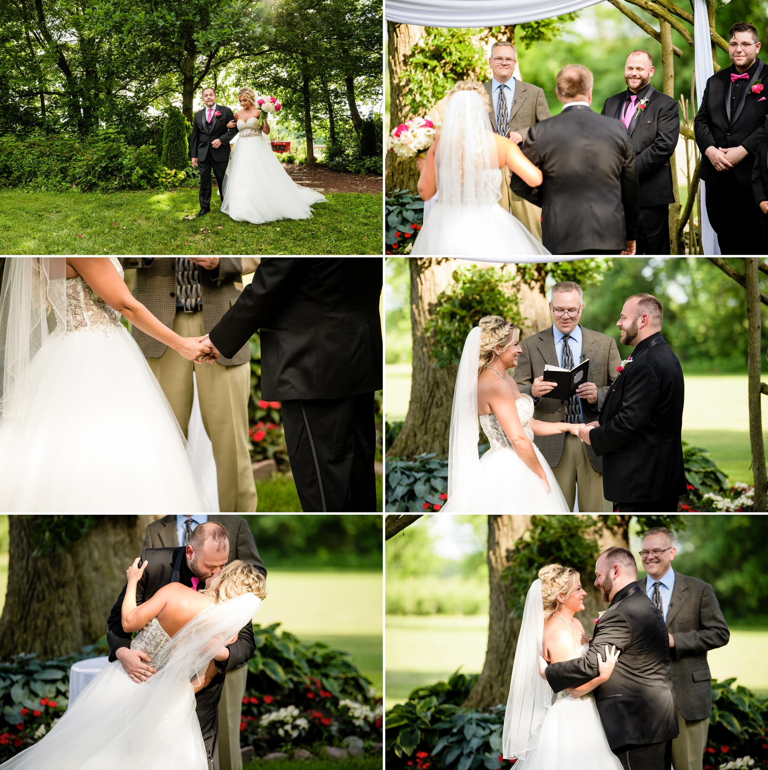 Outdoor wedding ceremony at the big oak tree.