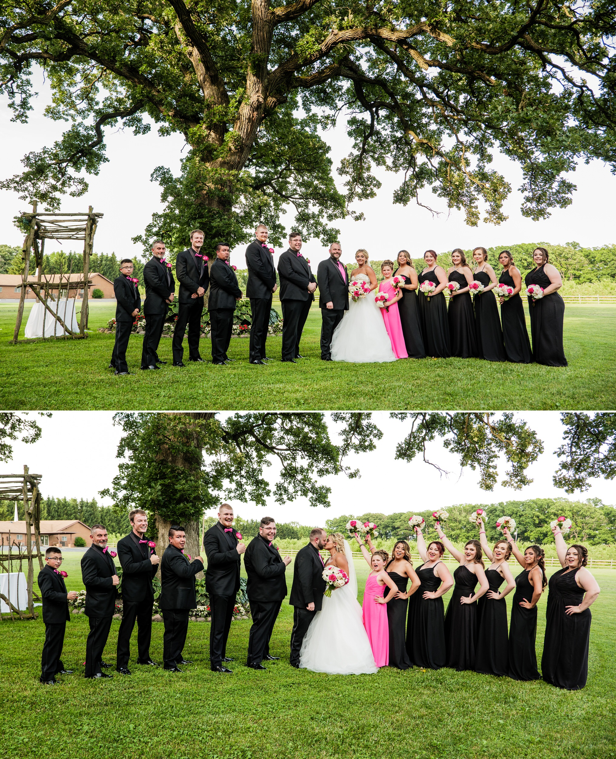 Wedding party group photos underneath the big oak tree.