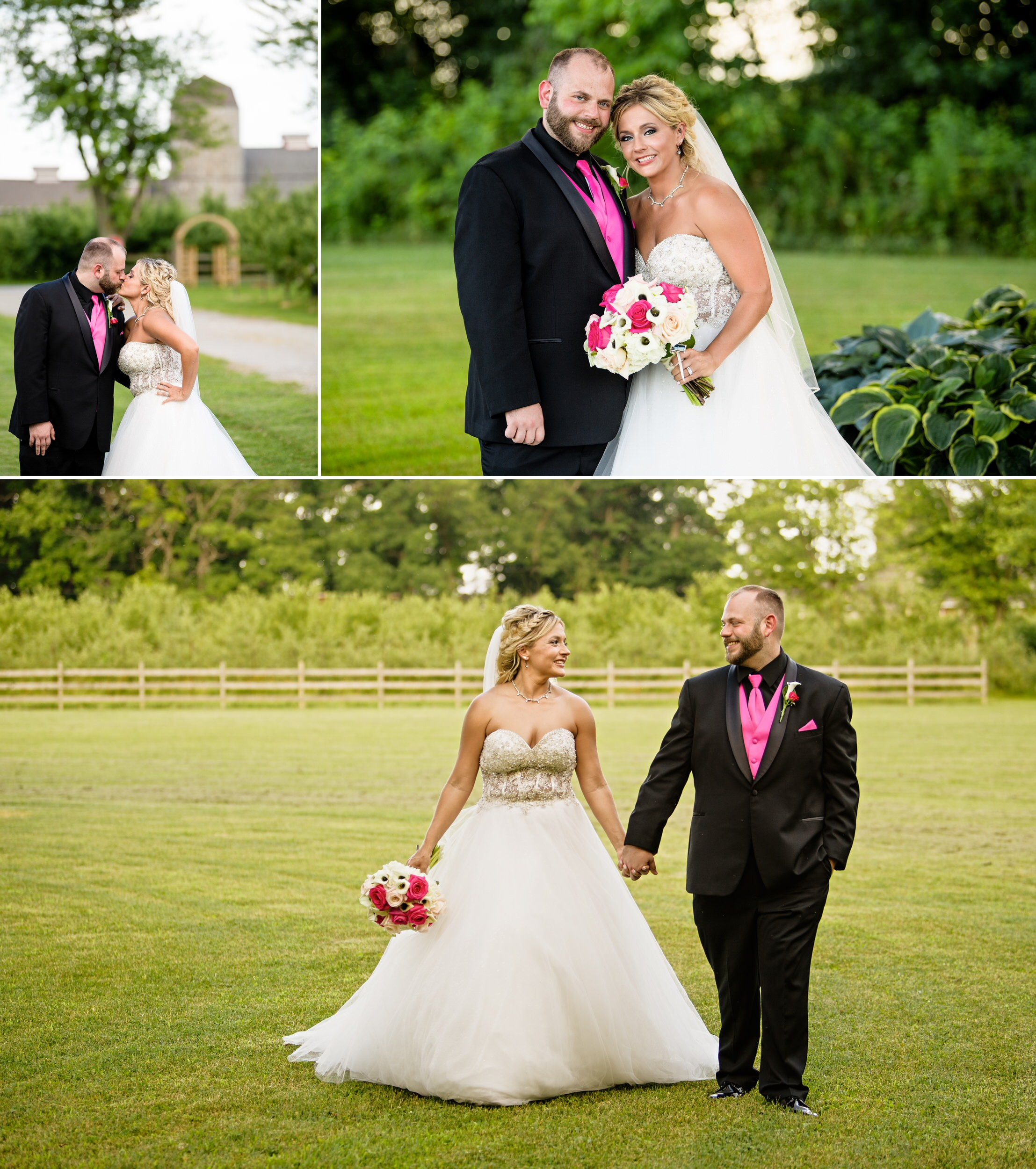 Bride and groom photos on the grounds of County Line Orchard in Hobart, Indiana.