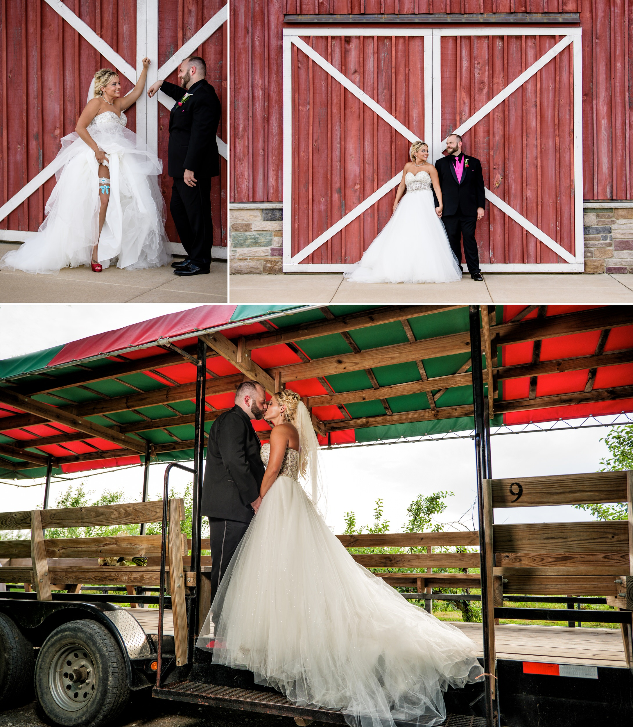 Rustic wedding photos at County Line Orchard.