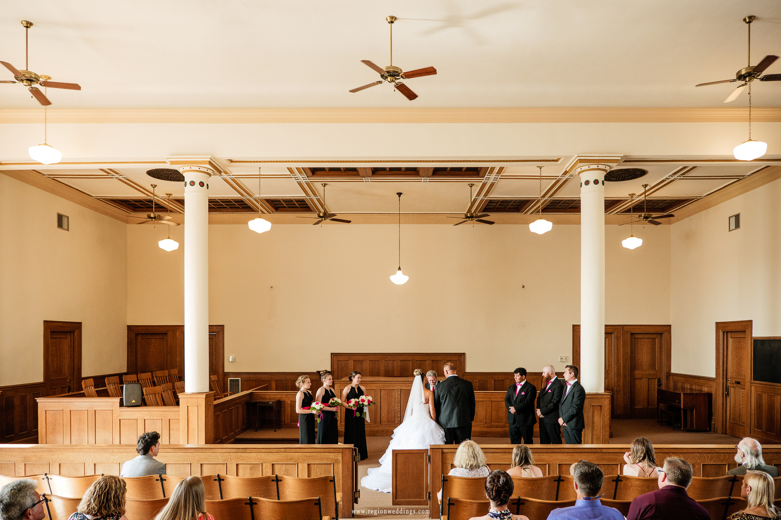 Wedding ceremony in the 1920's era courtroom in the historic Lake County Courthouse building.