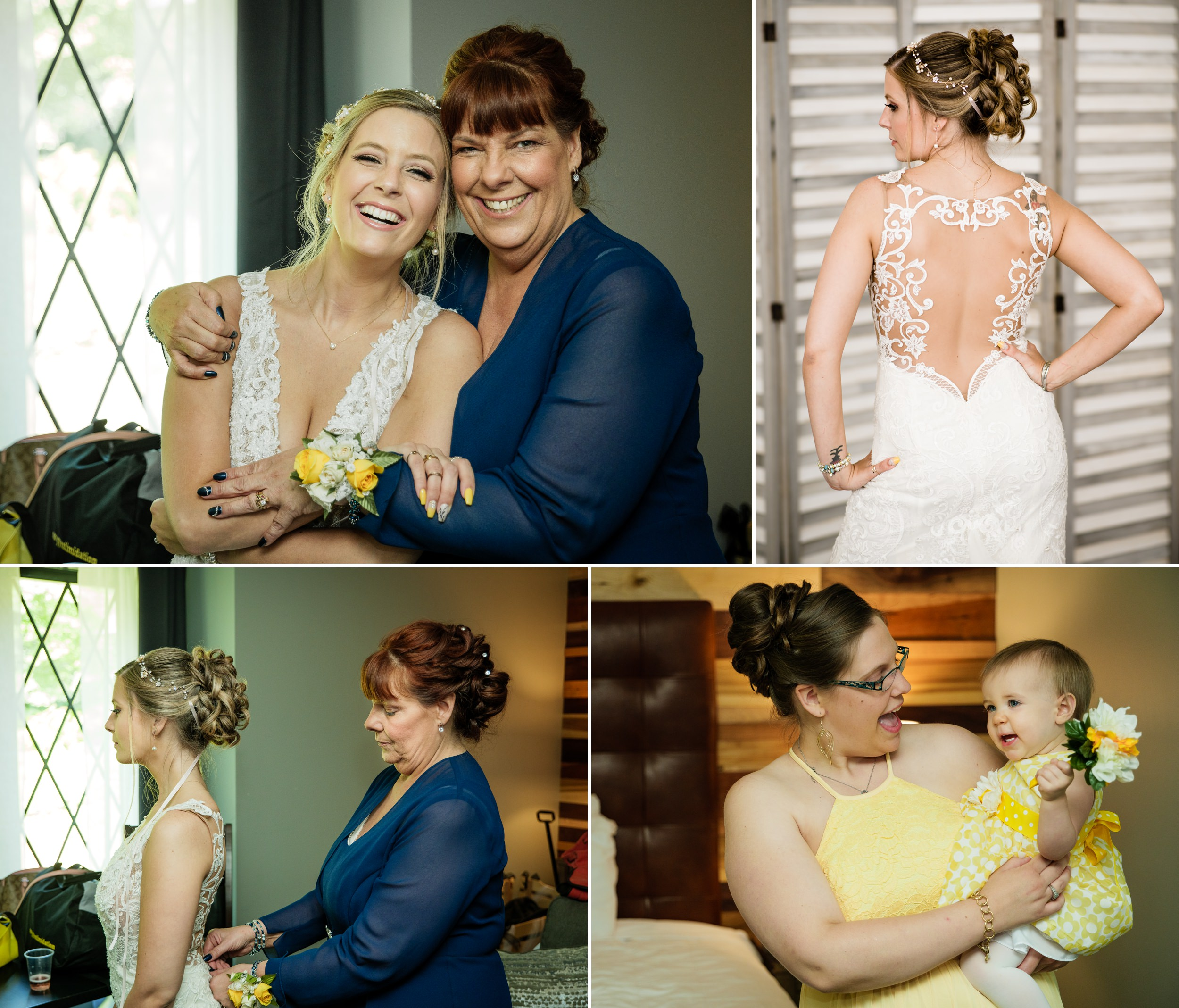 Mother of the bride assists her daughter before she walks down the aisle.