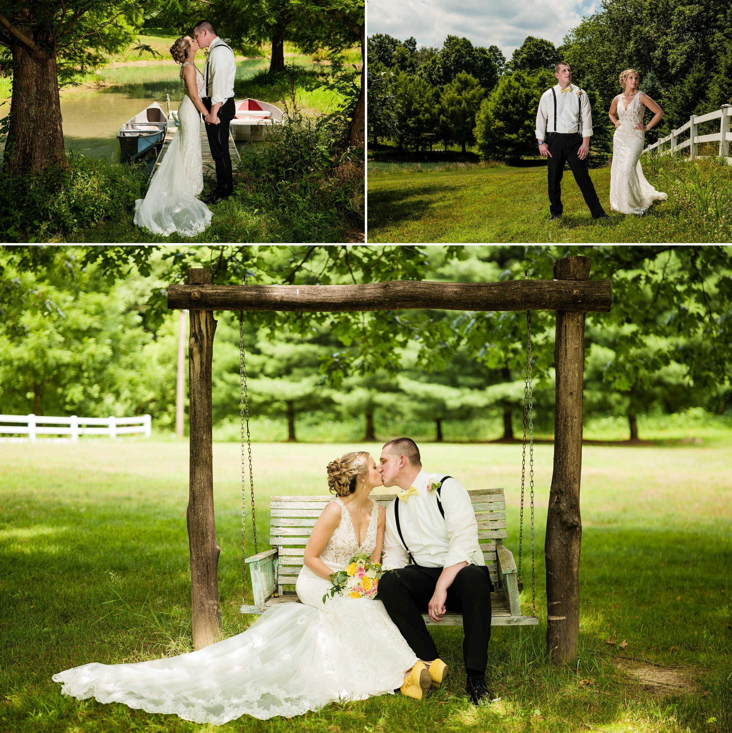 Wedding photos featuring the beautiful scenery of the grounds at Heston Hills Event Center.