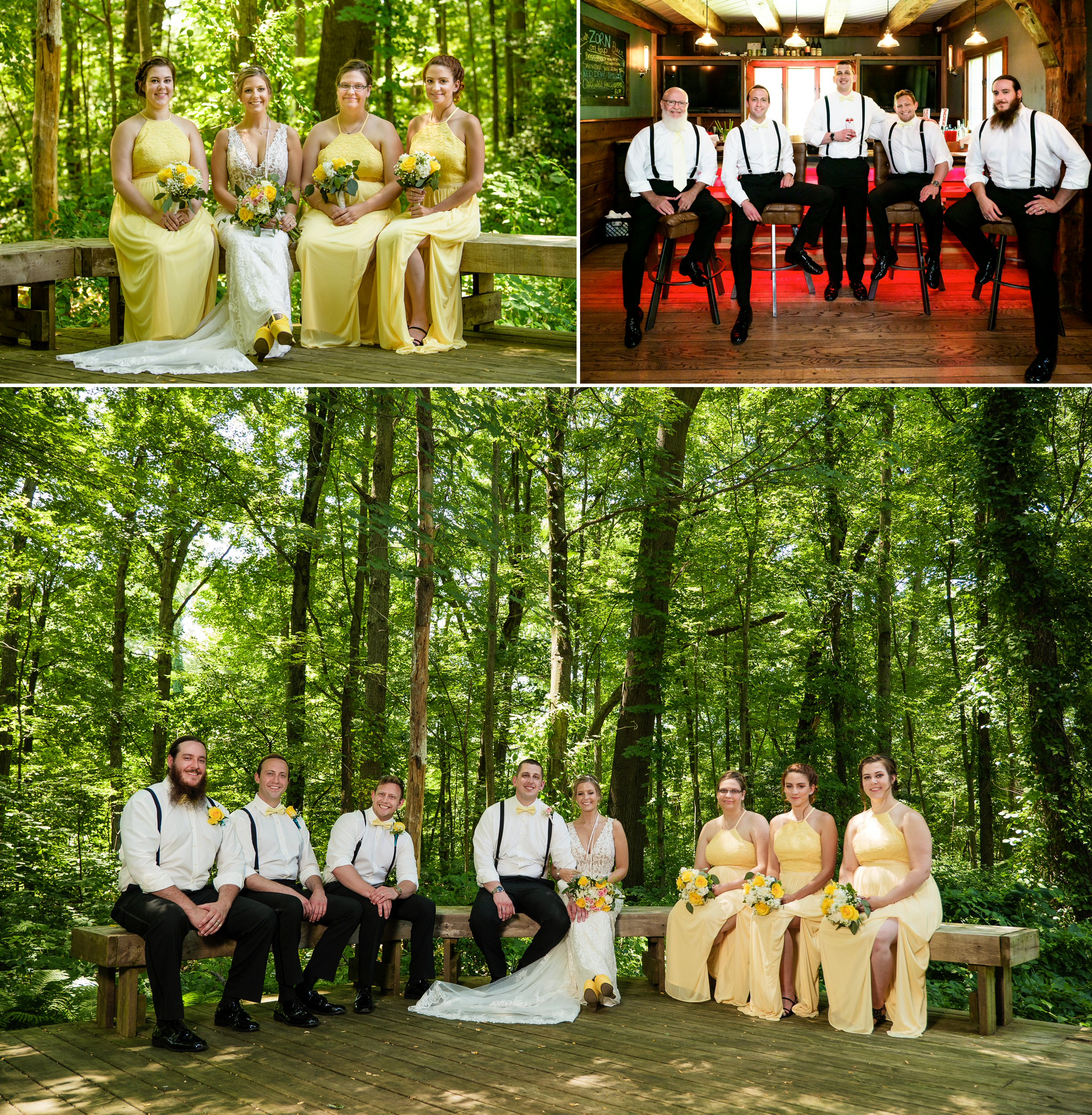 The wedding party in the woods.