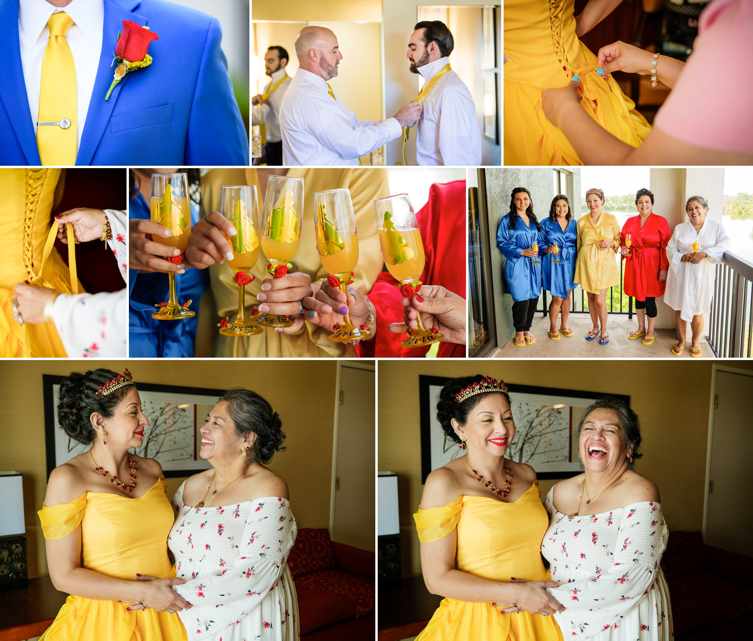 Yellow, red and blue for the Disney themed wedding.