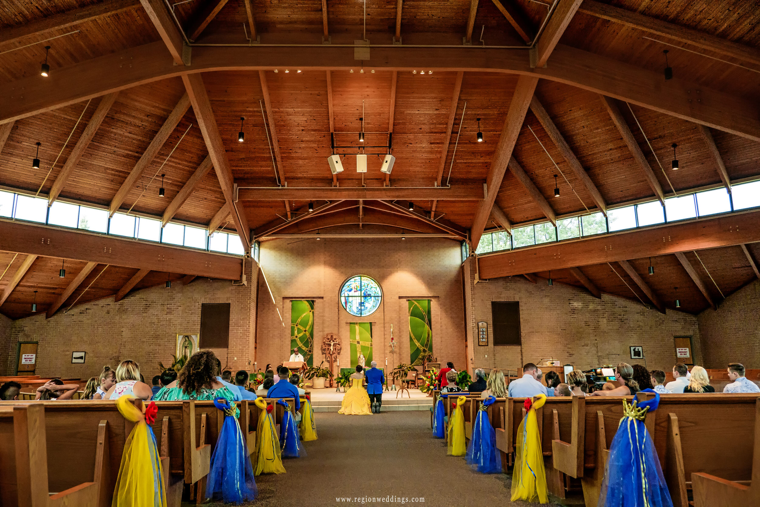 A summer wedding ceremony at St. Ann's Church.