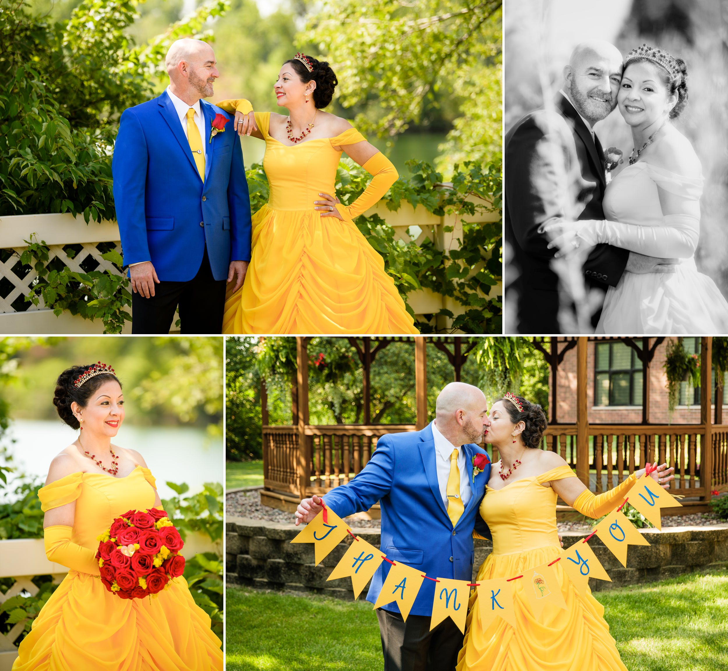 Bride and groom portraits during their Disney themed wedding.
