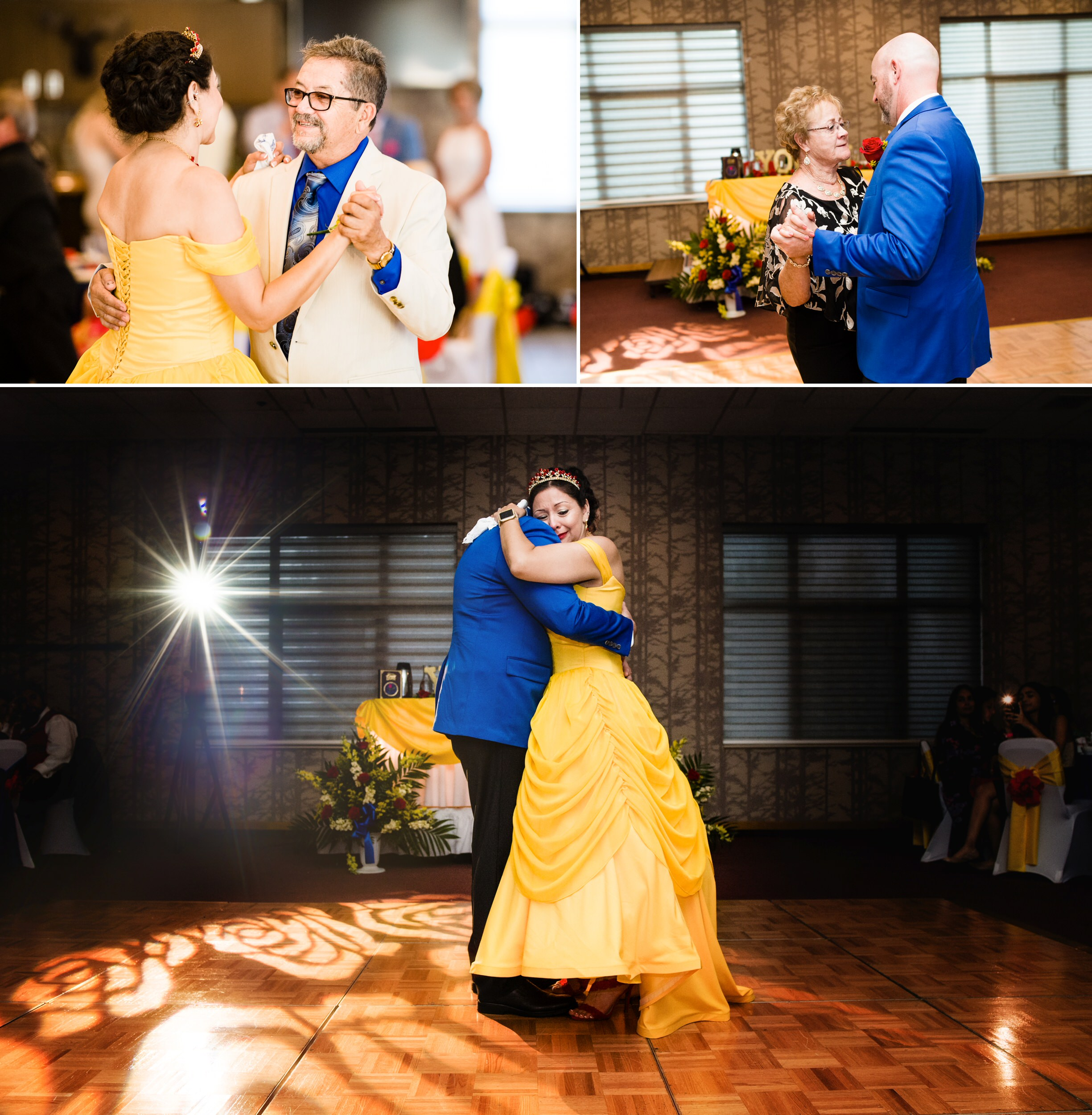 First dances at Villa Cesare in Schererville, IN at a Disney themed wedding reception.