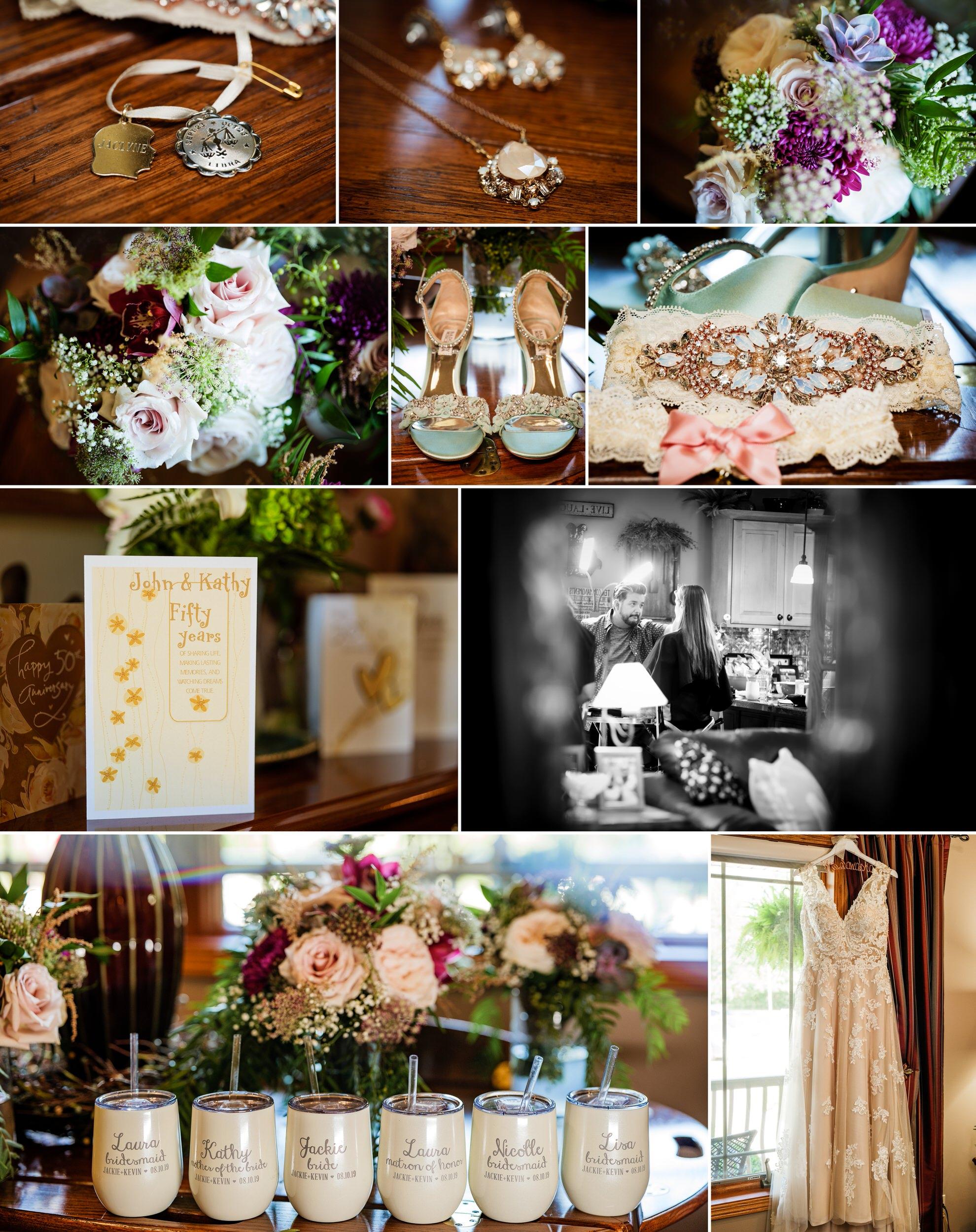 Bridal details for a summer wedding in Cedar Lake, Indiana.