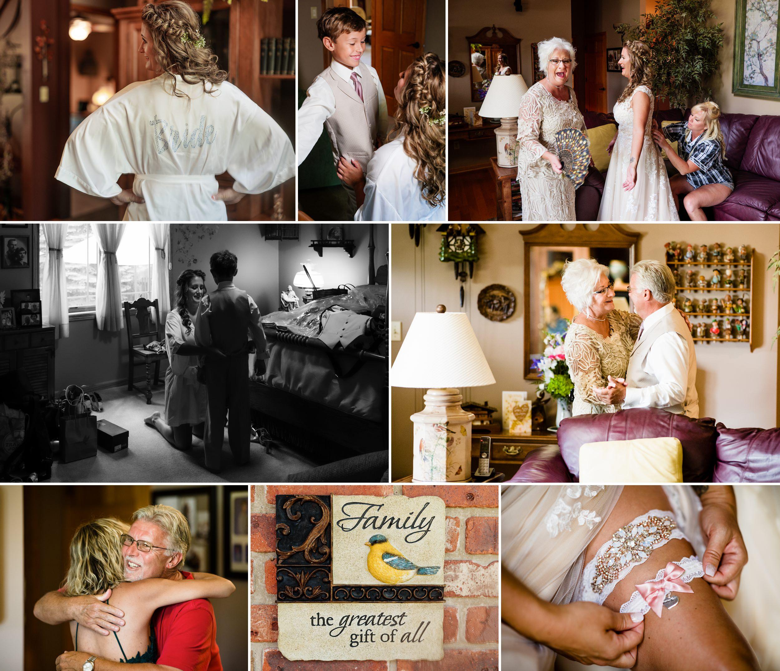 Captured moments during bridal prep.