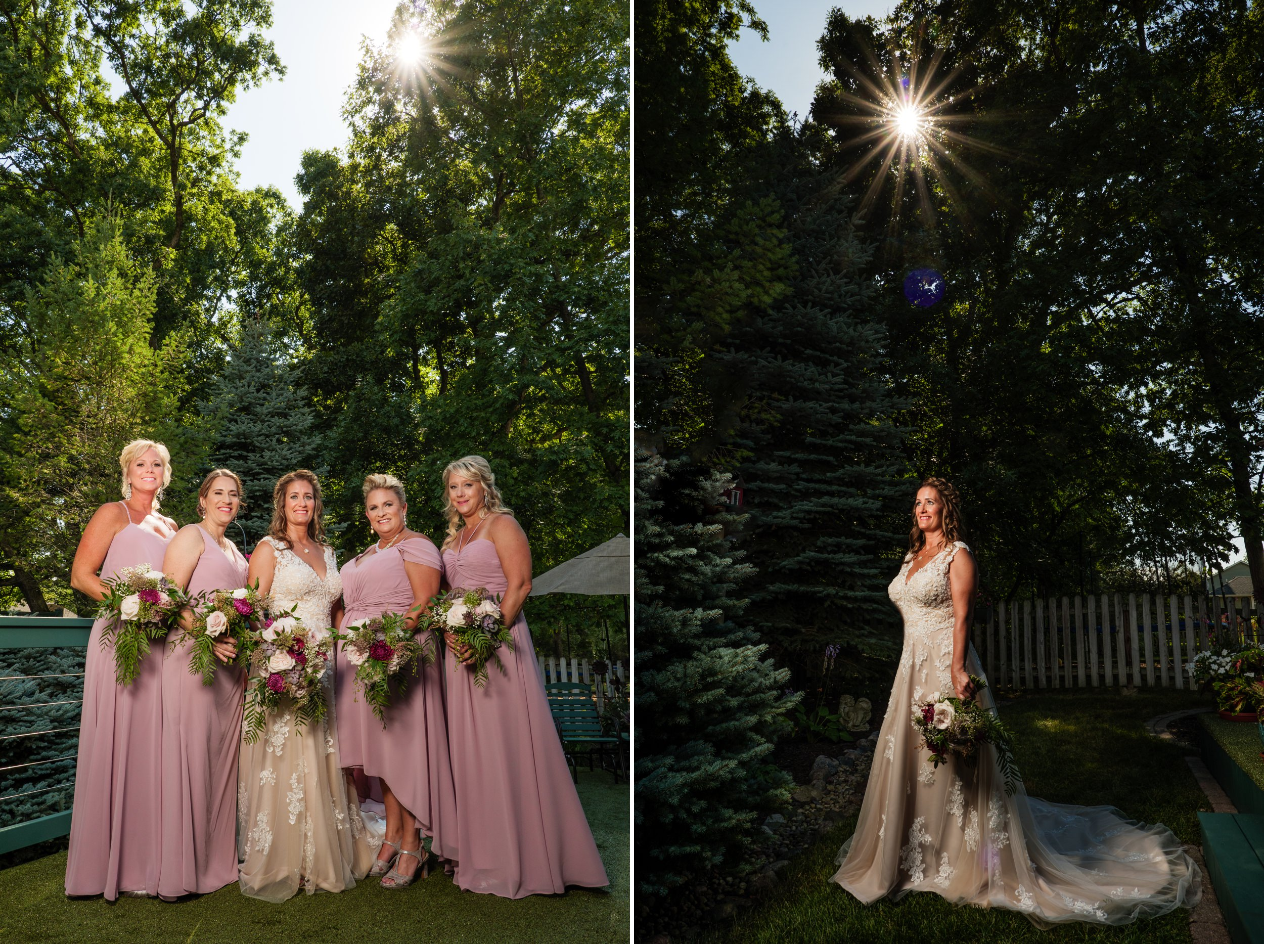 Bride and her bridesmaids on wedding day.