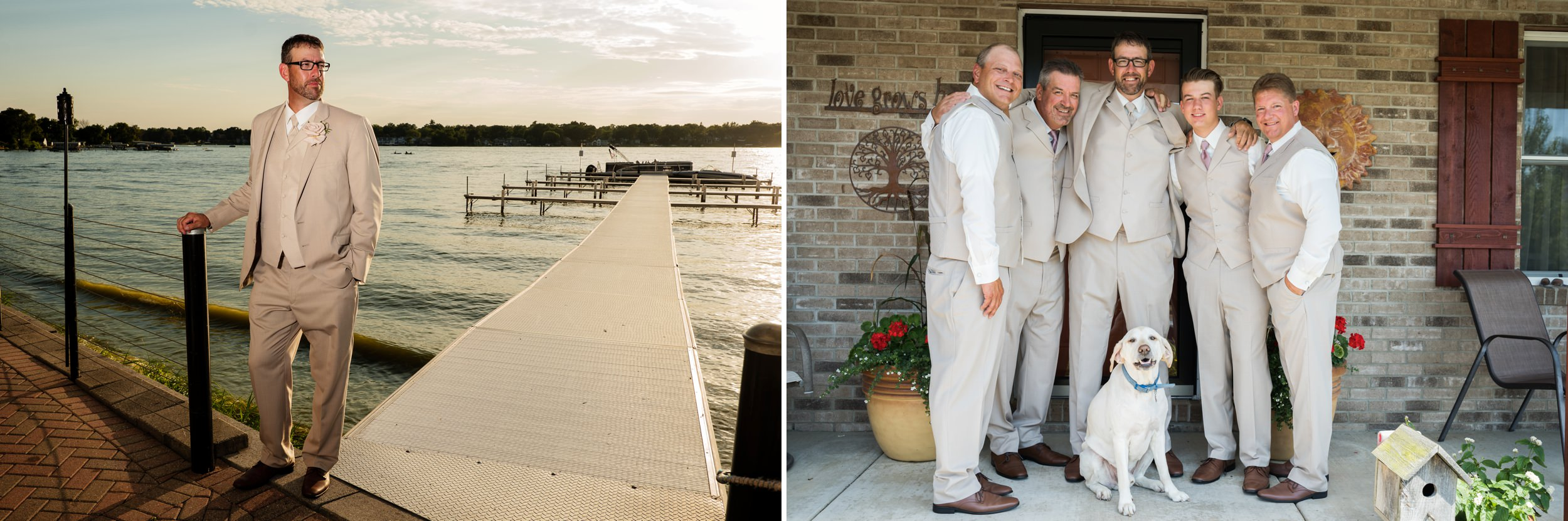 Groom and groomsmen on wedding day.