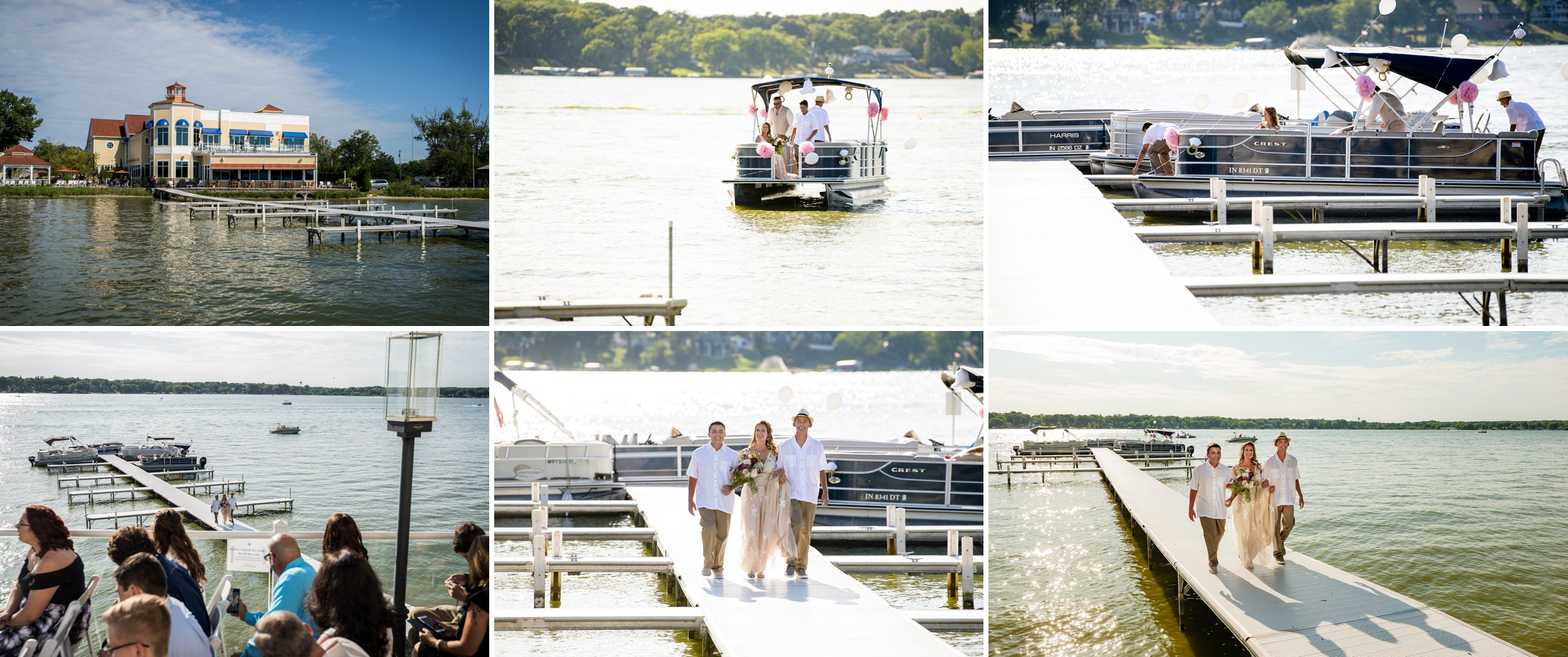 The bride arrives via boat for her summer wedding ceremony at Lighthouse Restaurant in Cedar Lake, Indiana.